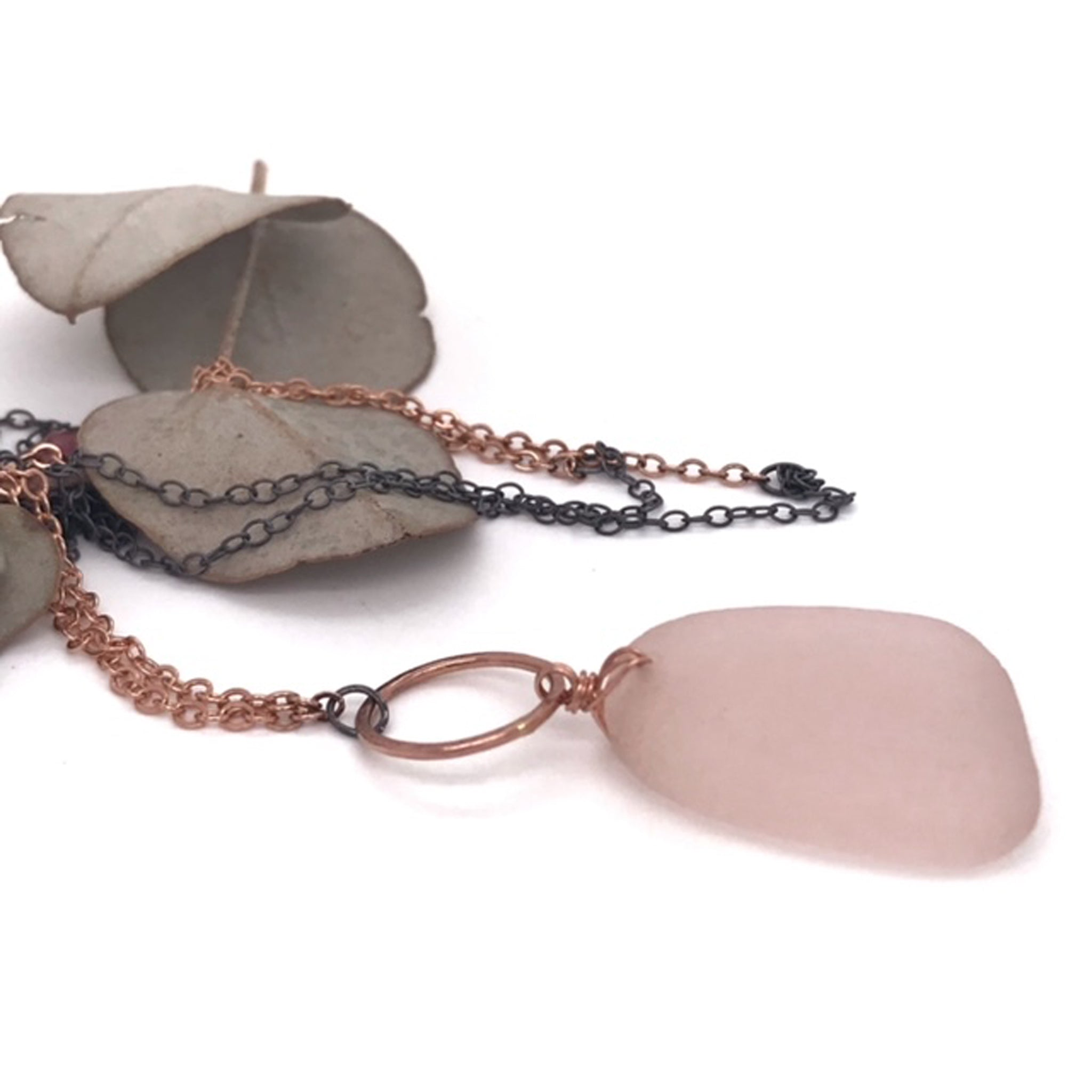 pink-seaglass-necklace-with-14k-rose-gold-ring-detail-and-oxidised-silver-chain-kriket-broadhurst-jewellery-Christmas