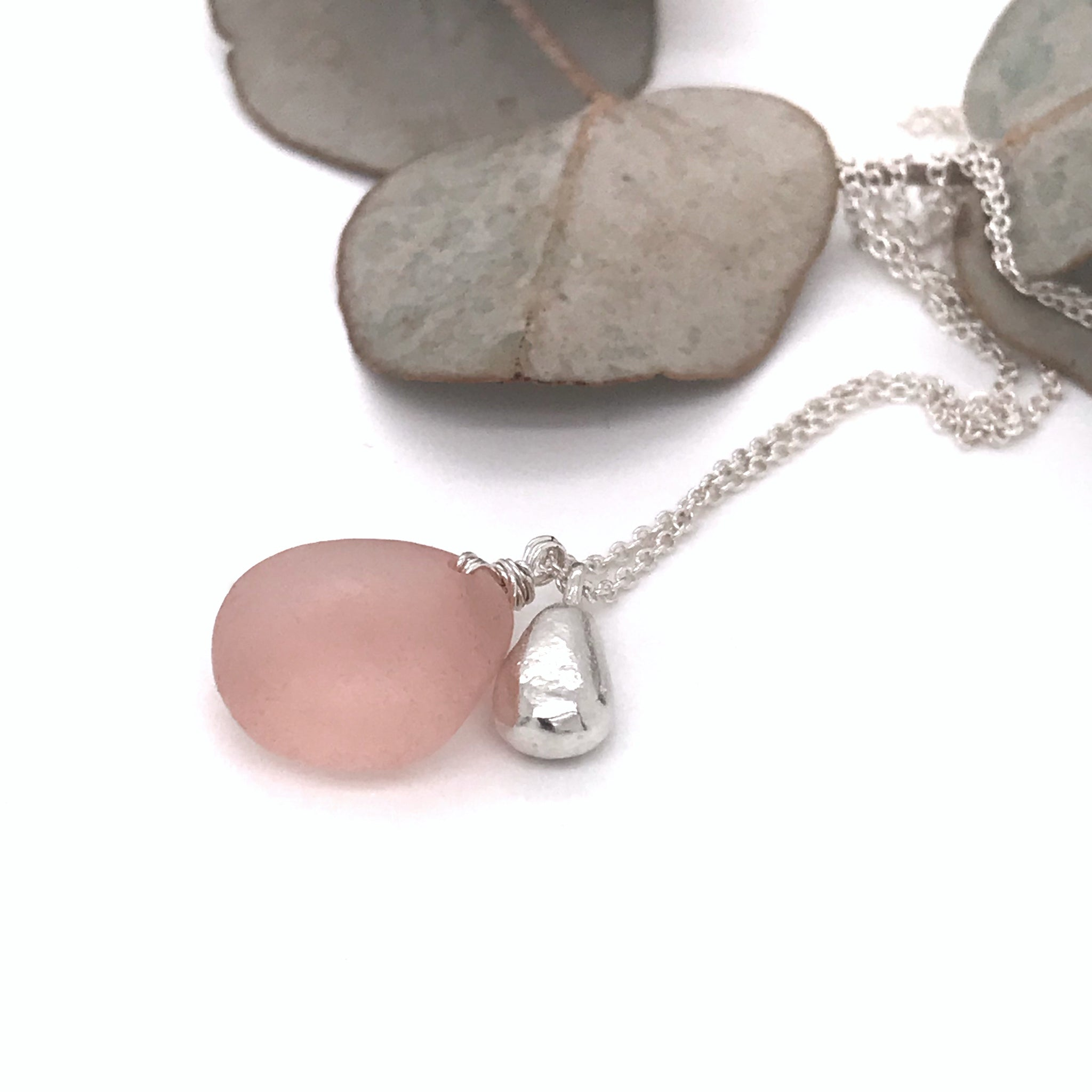 pink-seaglass-necklace-with-silver-teardrop-charm-kriket-broadhurst-jewellery-Sydney
