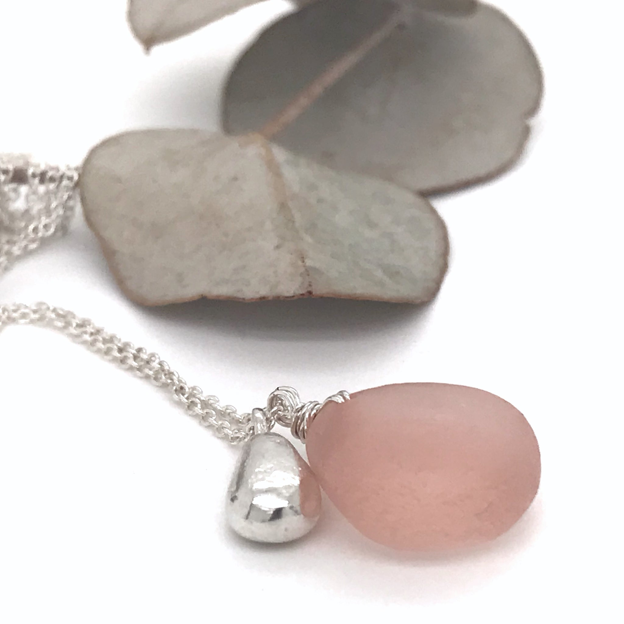 pink-seaglass-necklace-with-solid-silver-teardrop-charm-kriket-broadhurst-jewellery-Sydney
