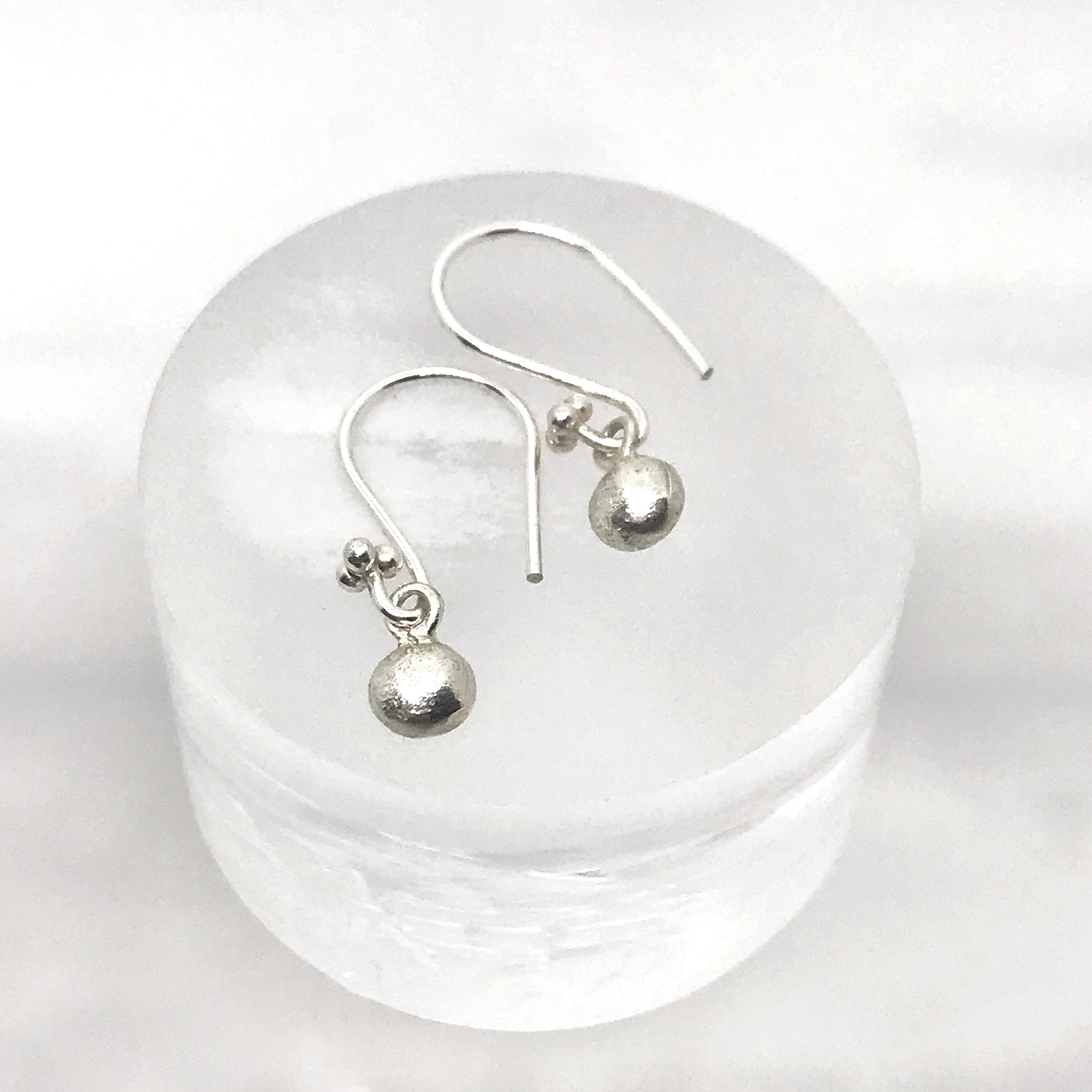 Dainty Silver Earrings Pebble Drops - kriket broadhurst minimalist jewellery