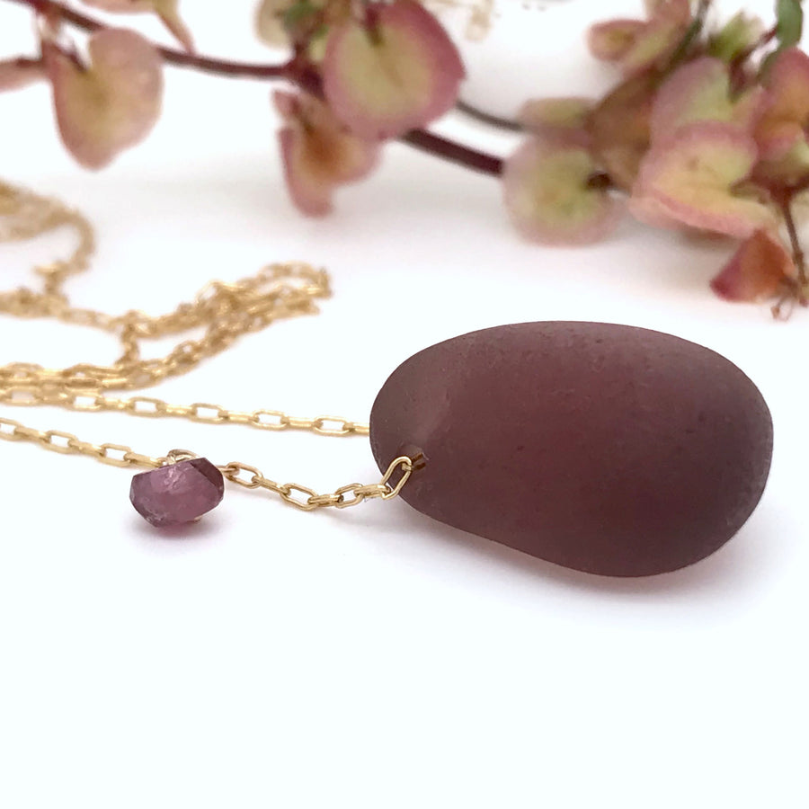 burgundy seaglass necklace on gold chain Kriket Broadhurst jewellery Christmas gift