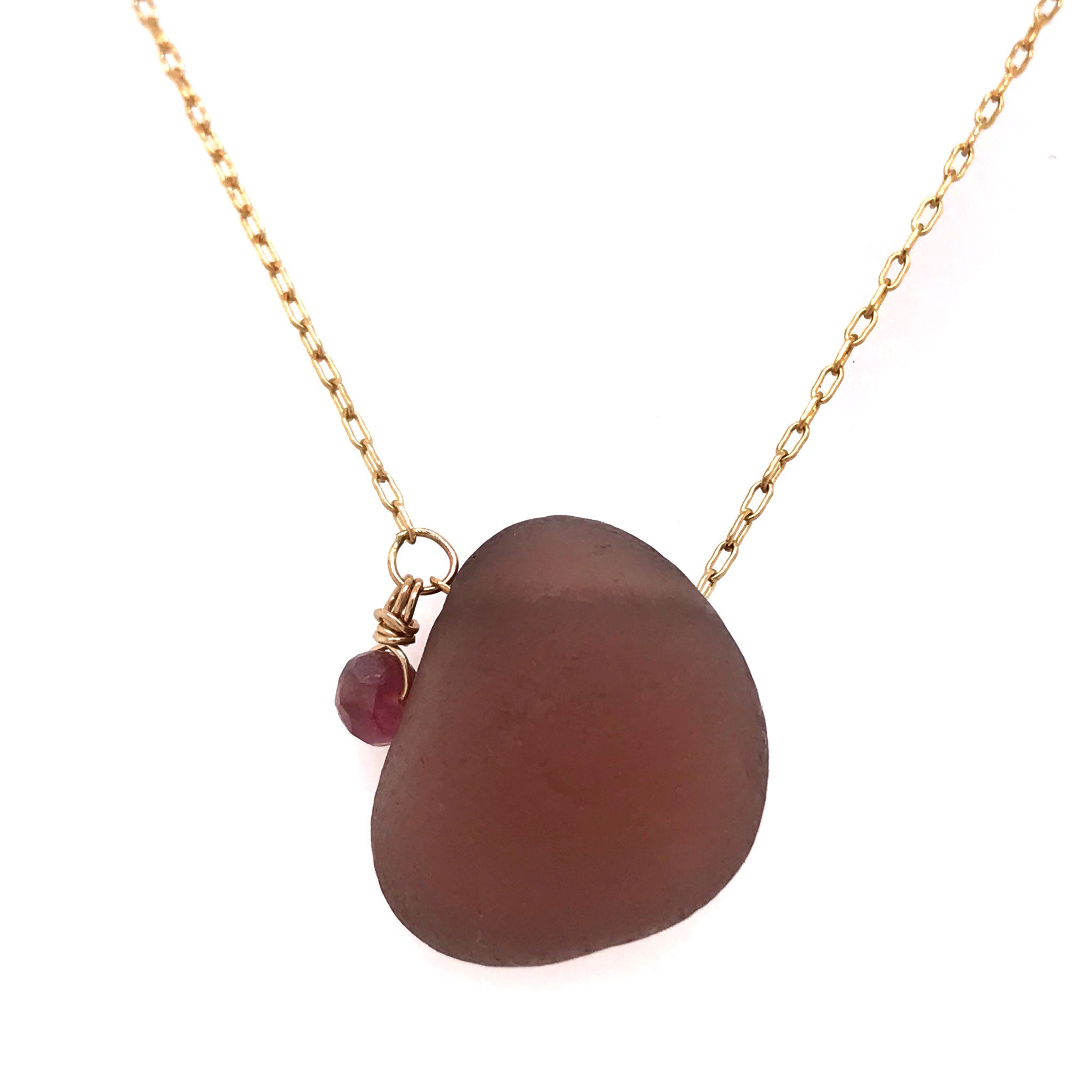 rare colour burgundy seaglass necklace on gold chain Kriket Broadhurst jewellery Christmas gift