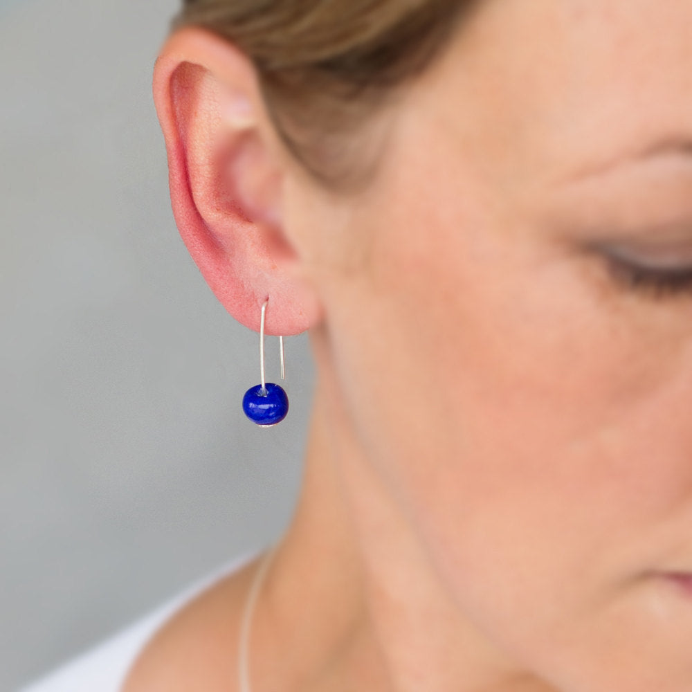 Short Silver Earrings with Dark Blue Ceramic Bead - kriket-broadhurst jewellery