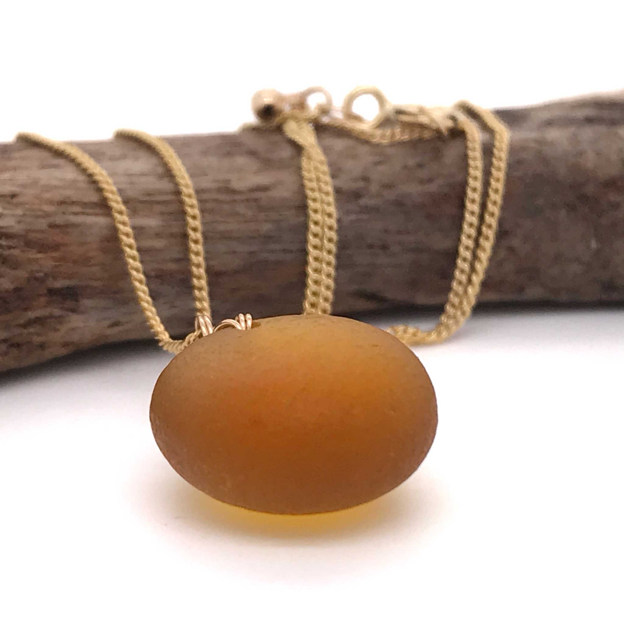 amber beach glass pendant on fine gold necklace kriket broadhurst jewellery made in Australia