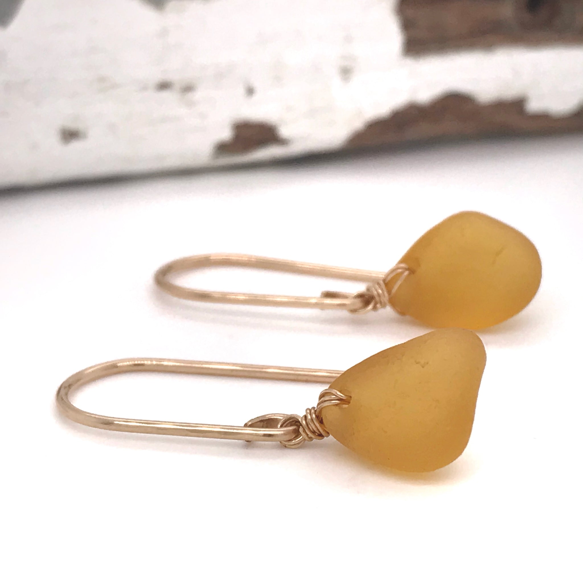amber earrings rare beach glass on gold drops kriket broadhurst jewellery Christmas gifts