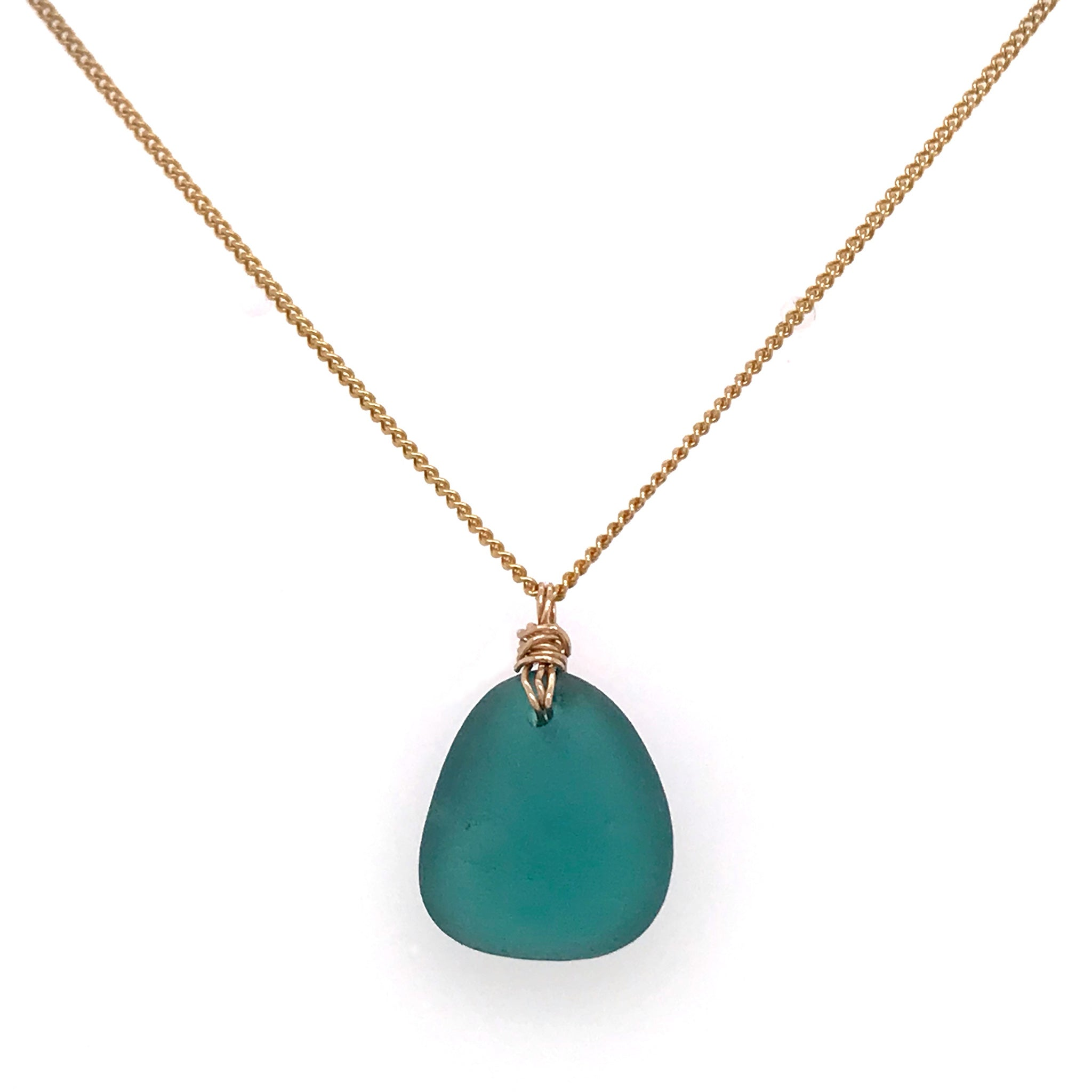 rare colour seaglass teal on gold necklace kriket broadhurst jewellery