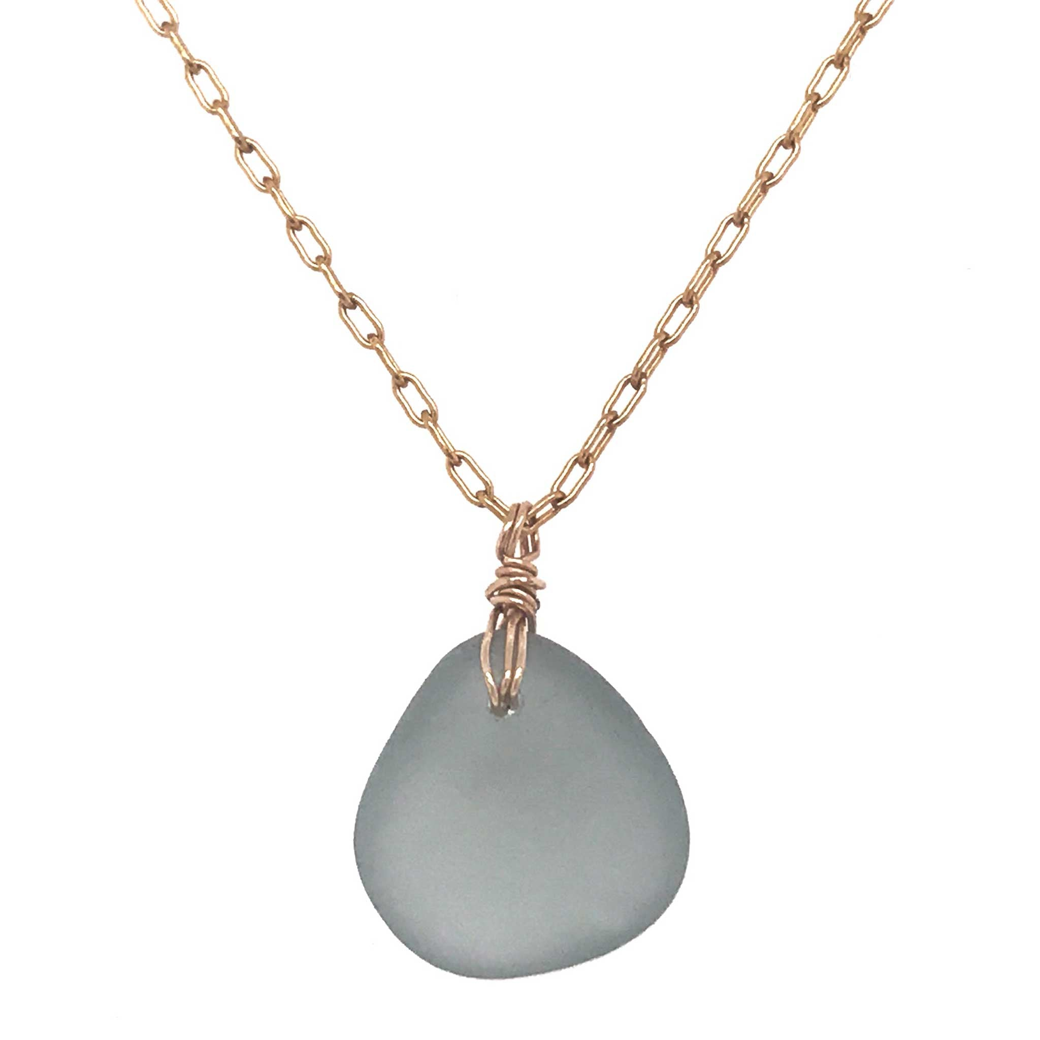 rare grey sea glass pendant on gold necklace kriket broadhurst jewellery Sydney