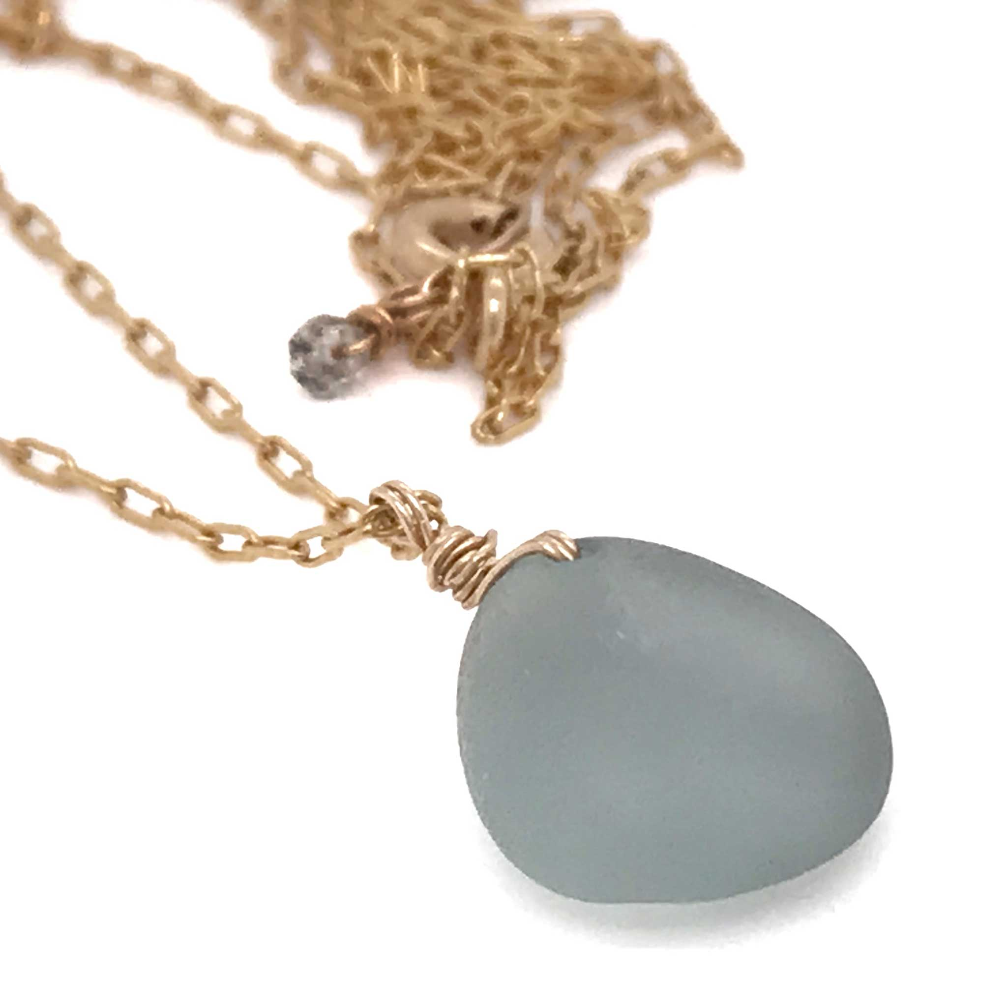 grey seaglass necklace on gold chain kriket broadhurst gifts for women