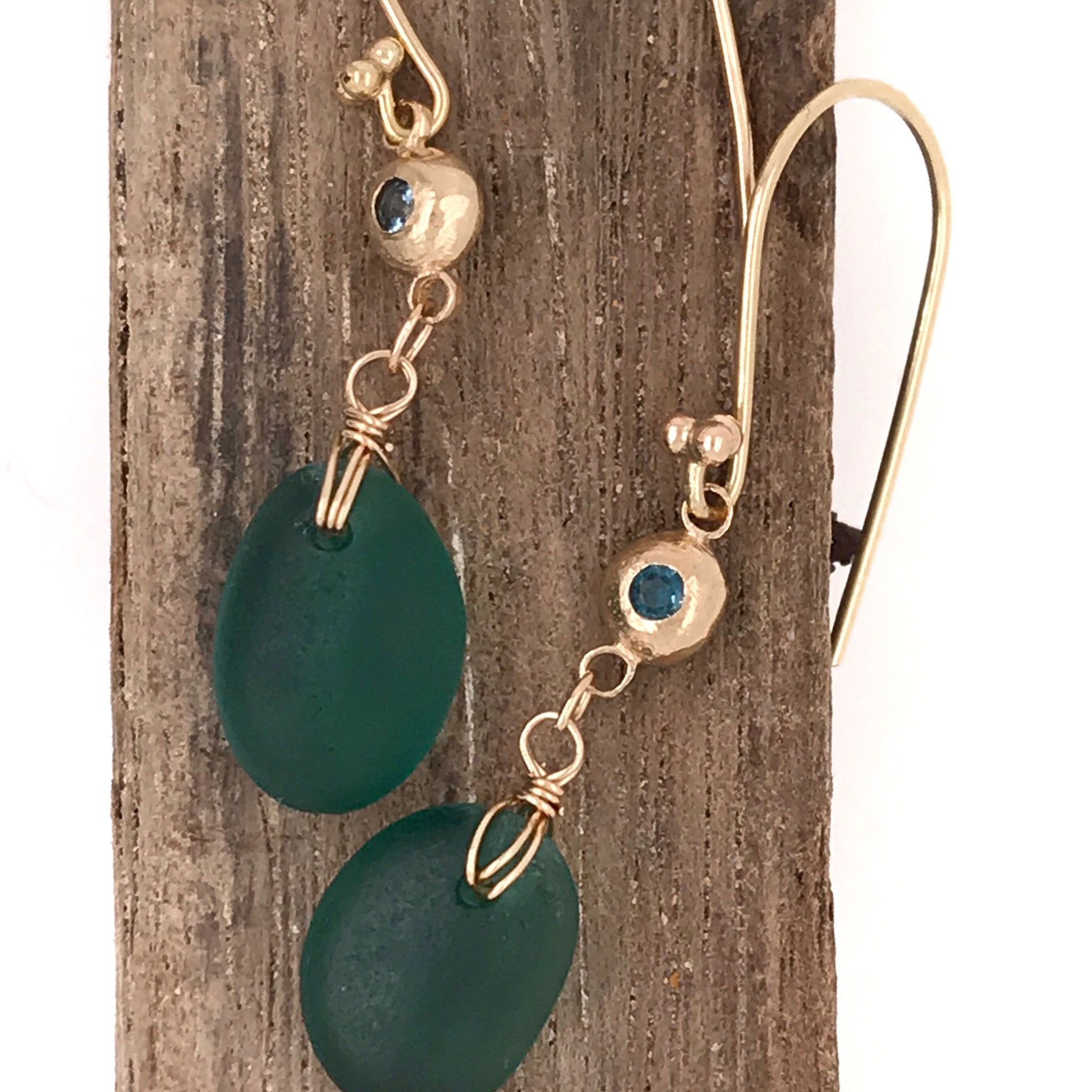 14k gold earrings with teal seaglass and tourmalines Kriket Broadhurst jewellery