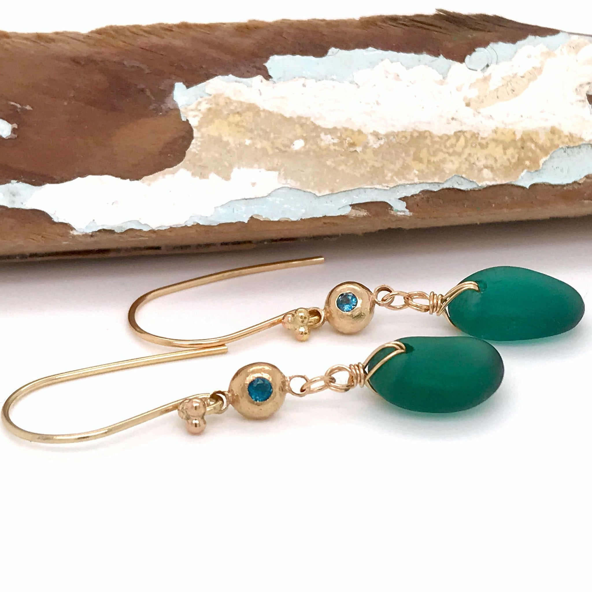 rare teal seaglass on gold earrings with blue green tourmaline Kriket Broadhurst jewellery