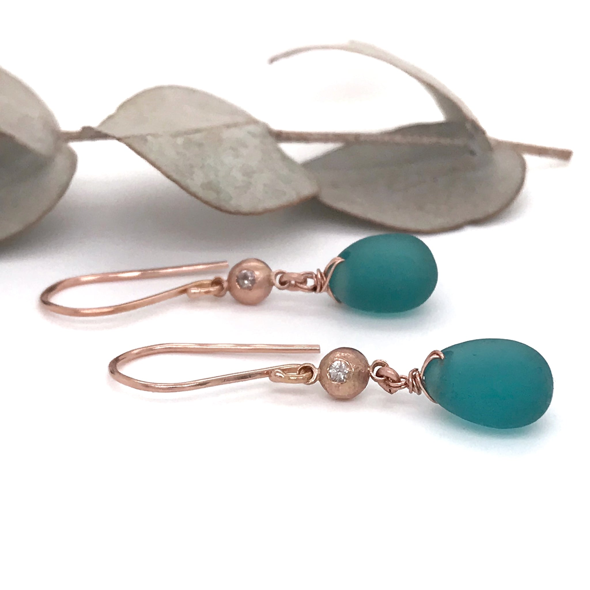 rose-gold-earrings-with-teal-beach-glass-and-white-sapphires-kriket-broadhurst-jewelry-Sydney