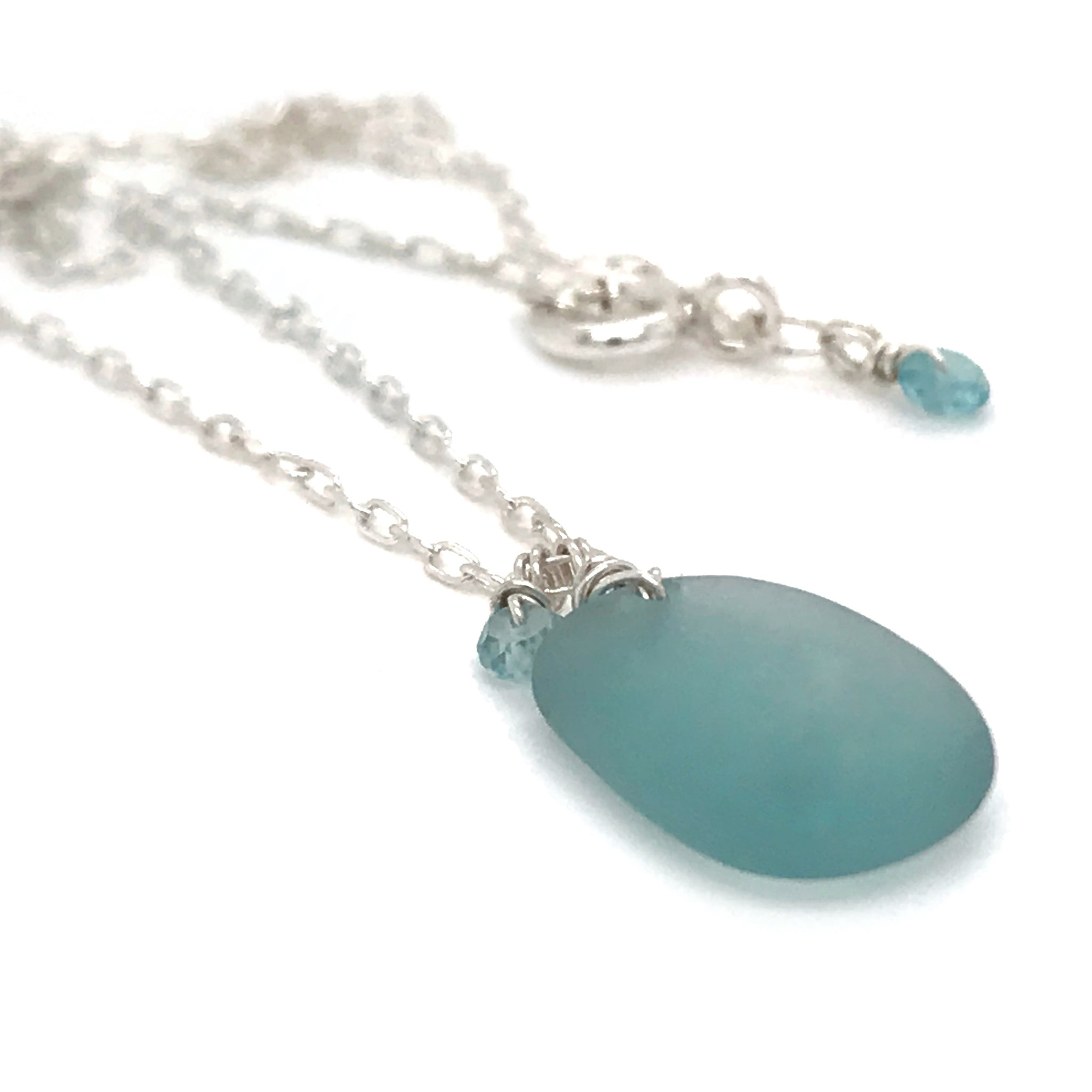 aquamarine necklace silver sea glass necklace