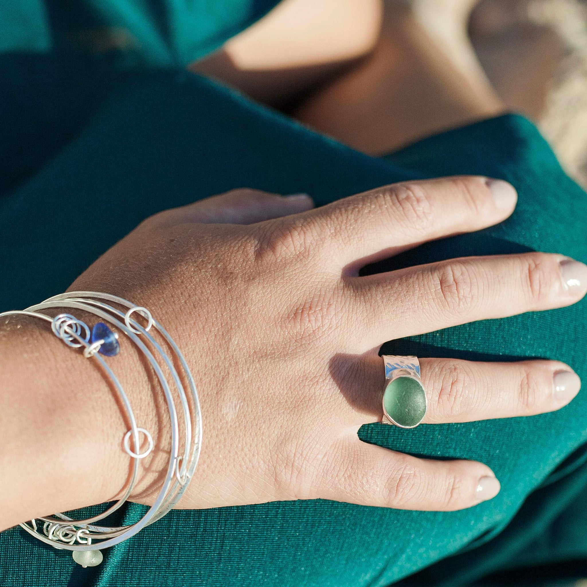 sea glass silver rings made in Sydney