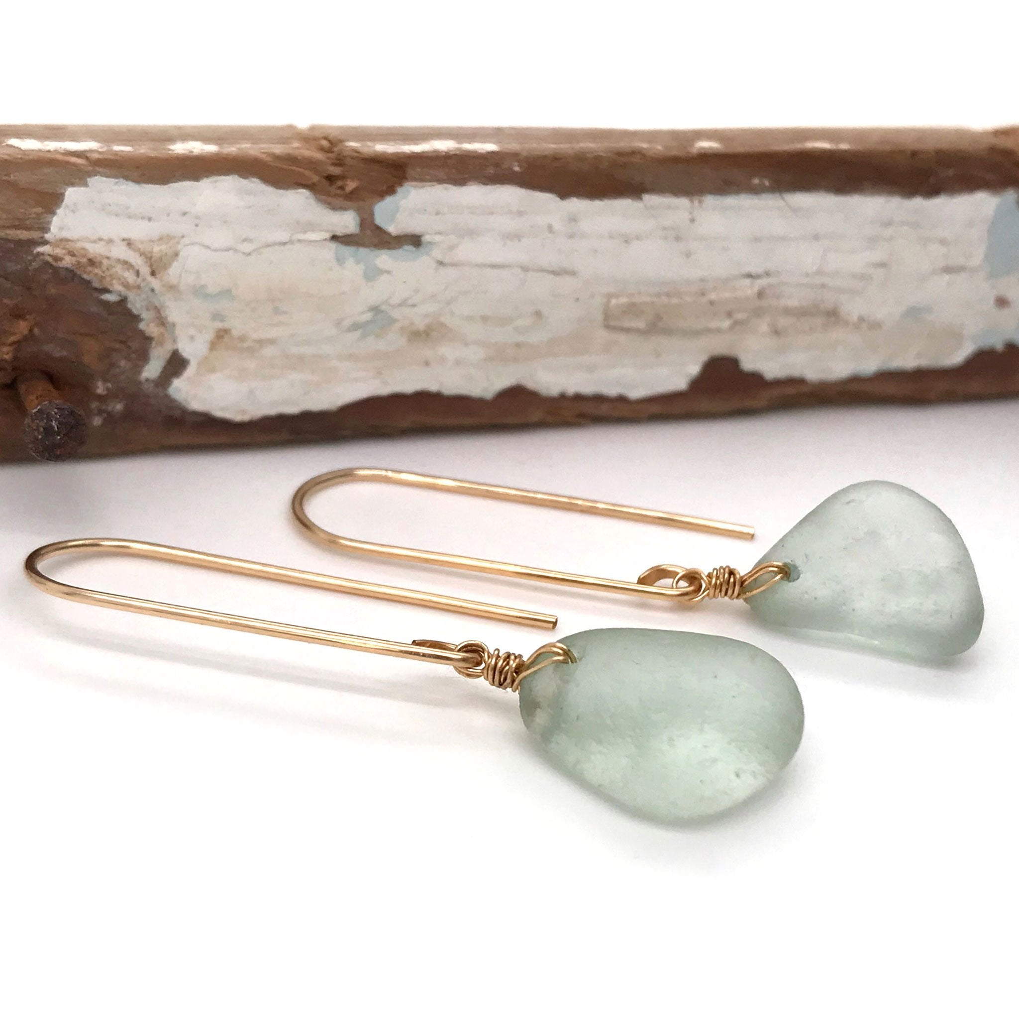 seafoam green earrings beach glass on gold hooks Kriket Broadhurst jewellery