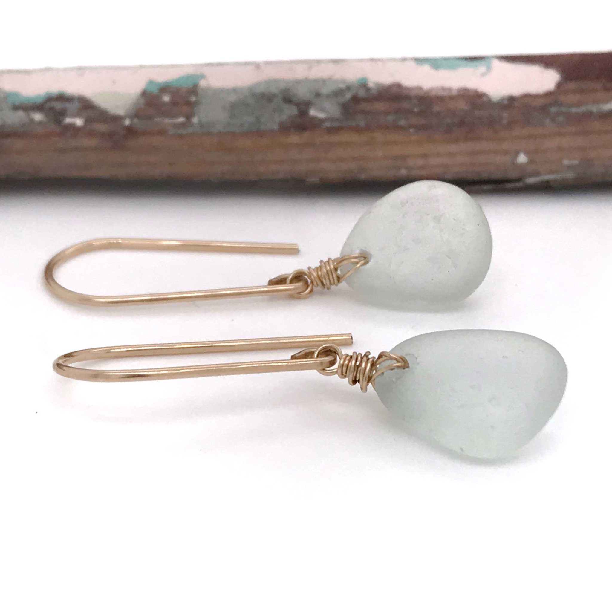 seafoam sea glass earrings on gold hooks kriket broadhurst jewellery Australia