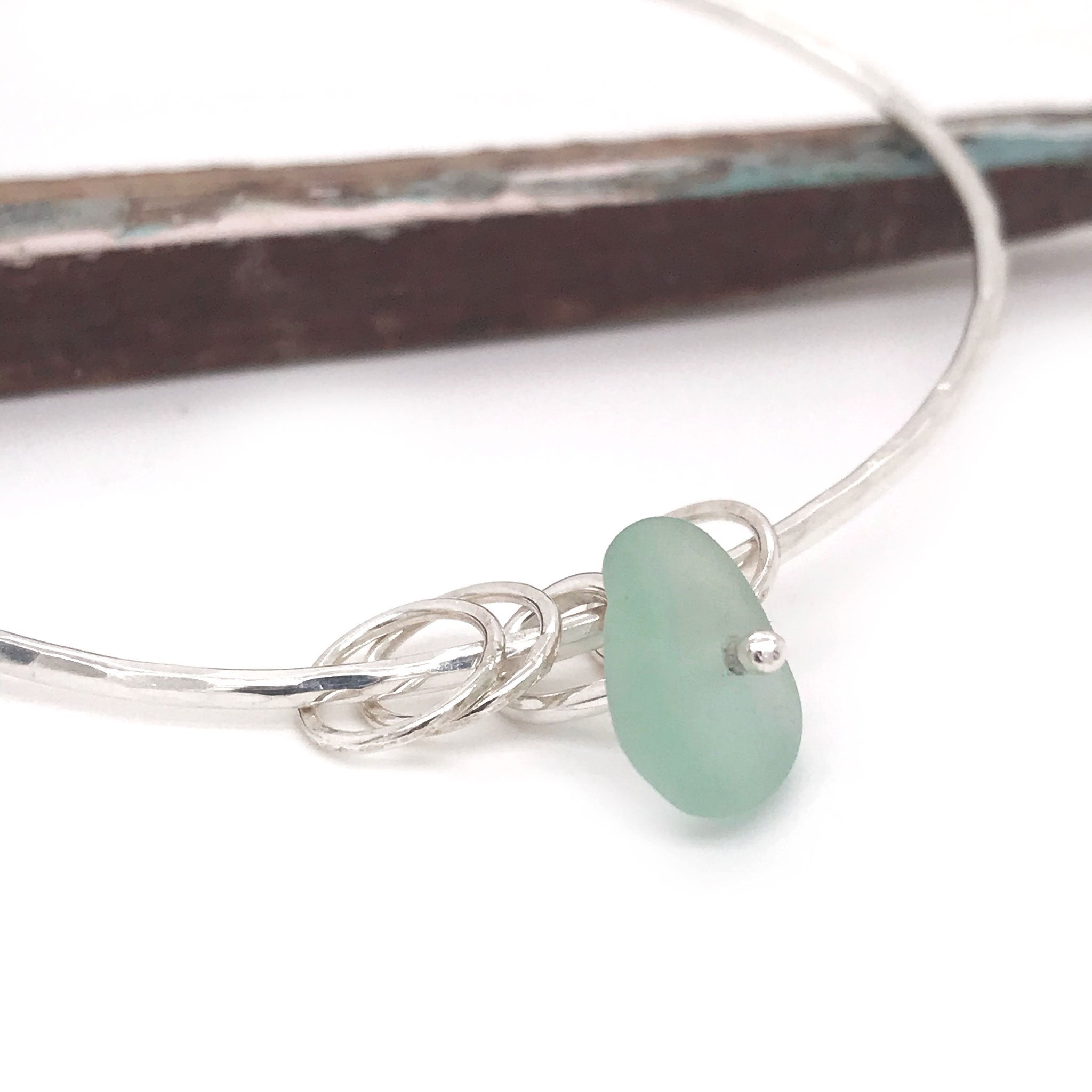 seafoam seaglass bangle silver kriket broadhurst jewelry