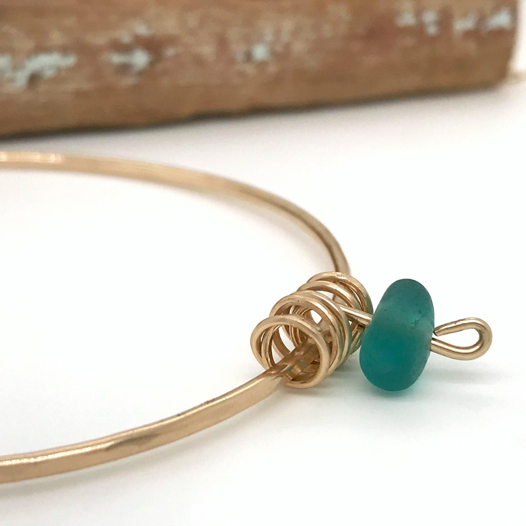 teal green bangle seaglass on gold Kriket Broadhurst jewellery