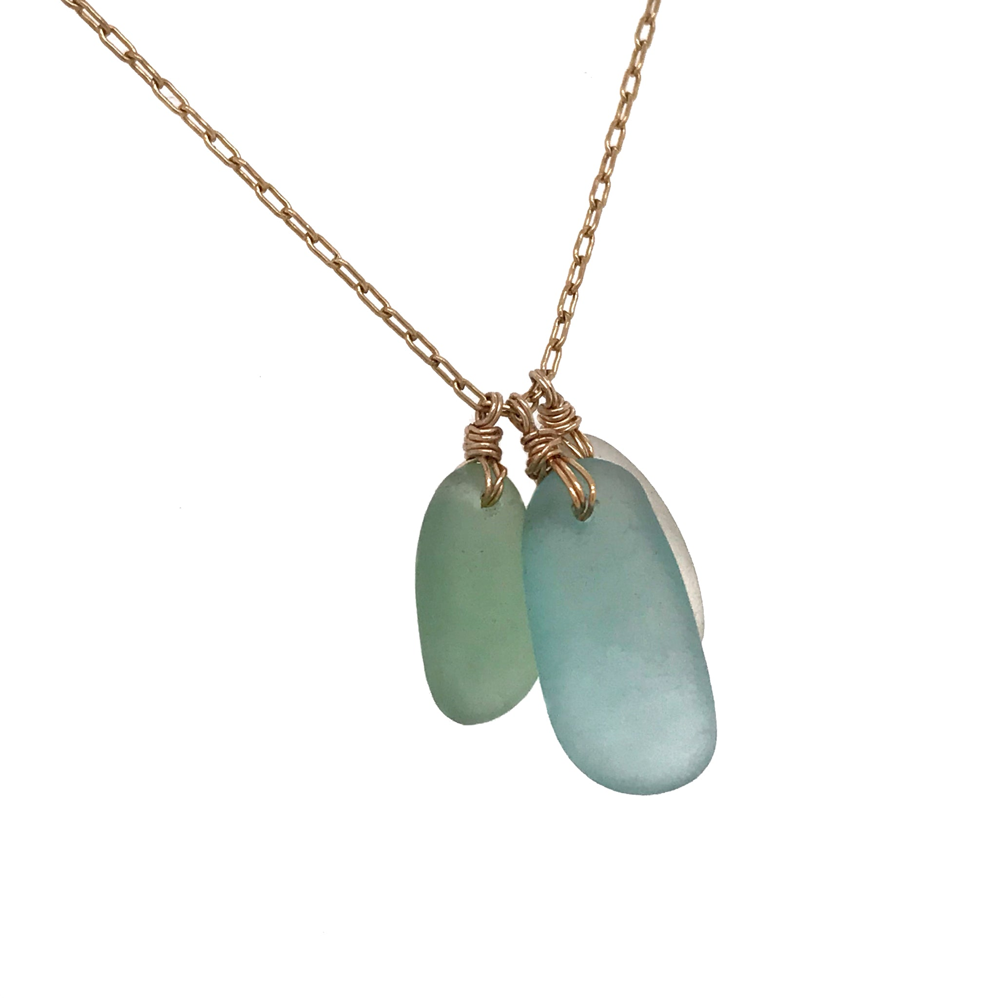 aqua green and clear sea glass on gold necklace kriket broadhurst one-of-a-kind jewellery