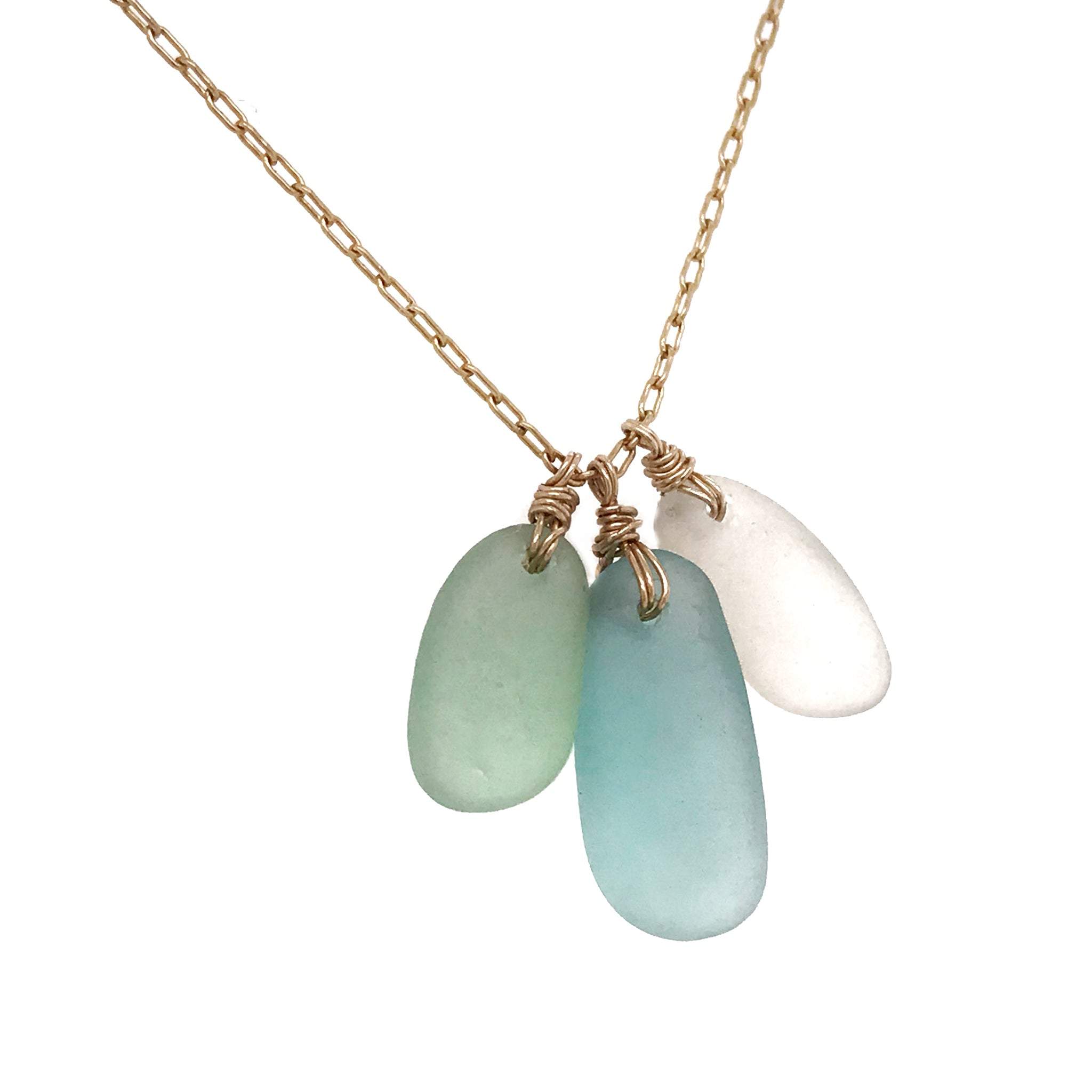 seaglass necklace multi-coloured on gold chain kriket broadhurst jewellery Australia