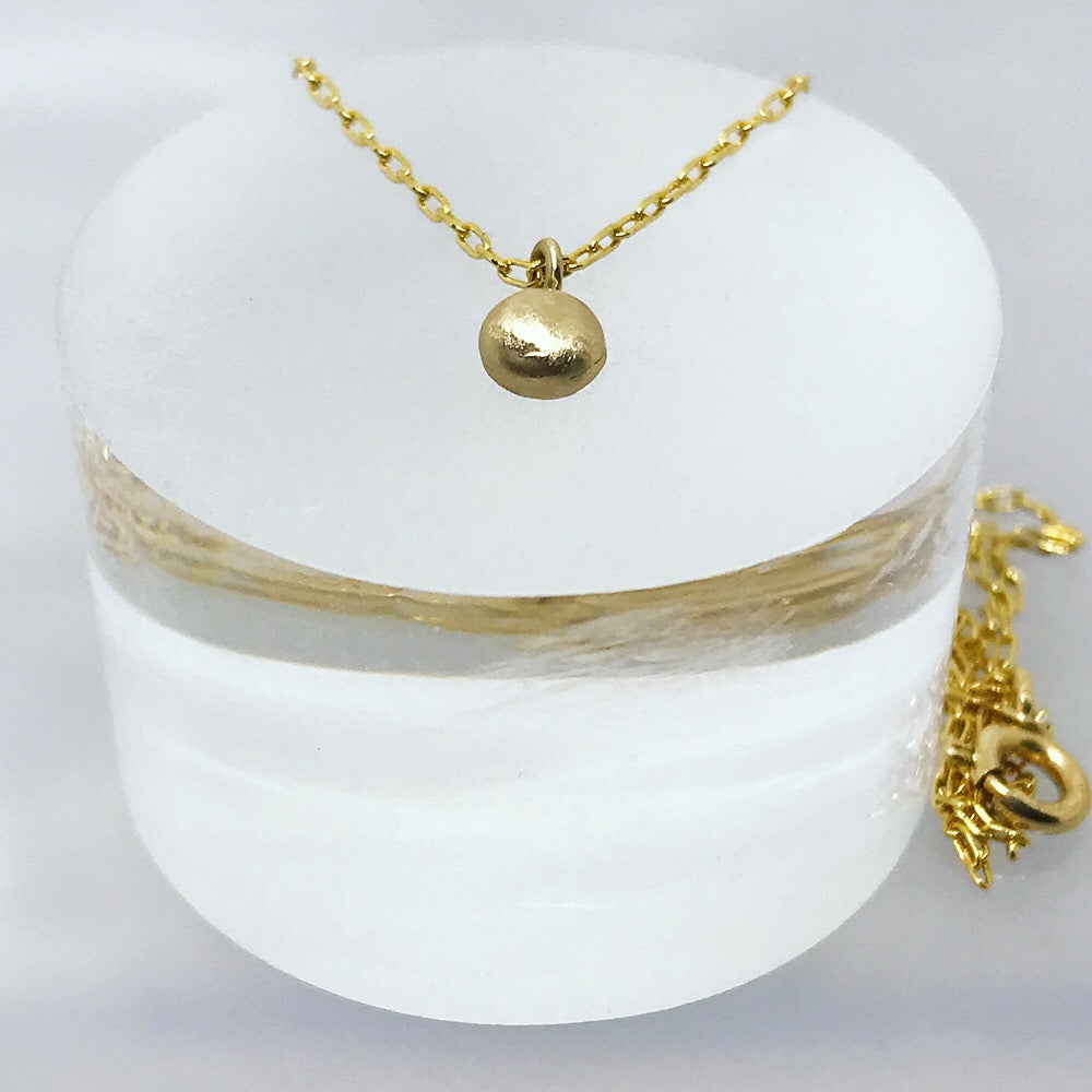 Gold Necklace with Pebble charm - kriket broadhurst minimalist jewellery