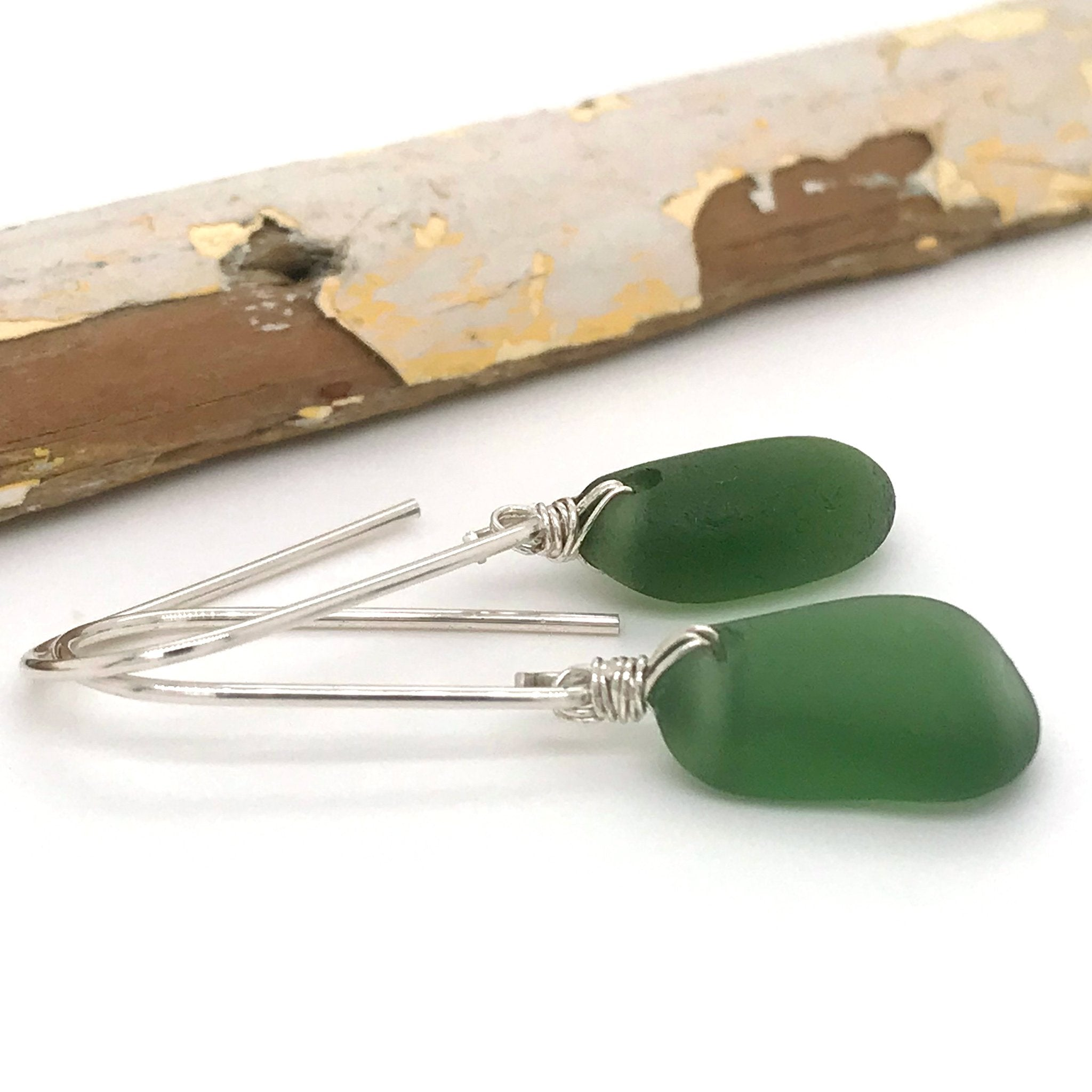 green seaglass earrings on sterling silver short drops kriket broadhurst jewellery