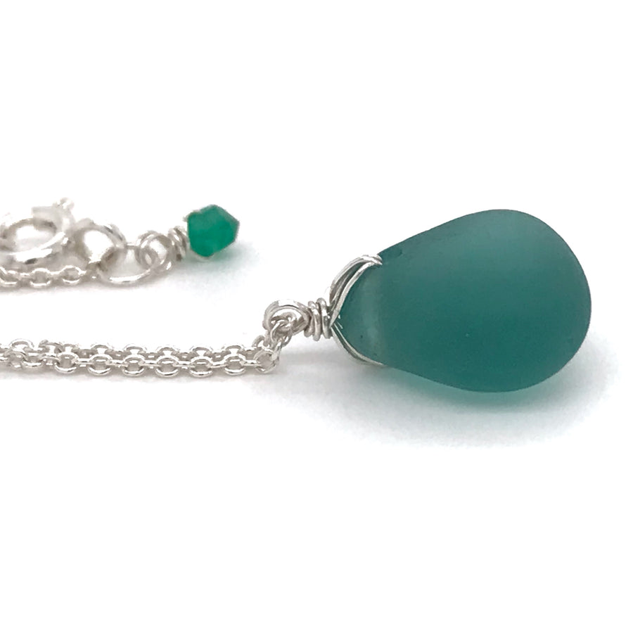 teal seaglass necklace silver sea glass necklace