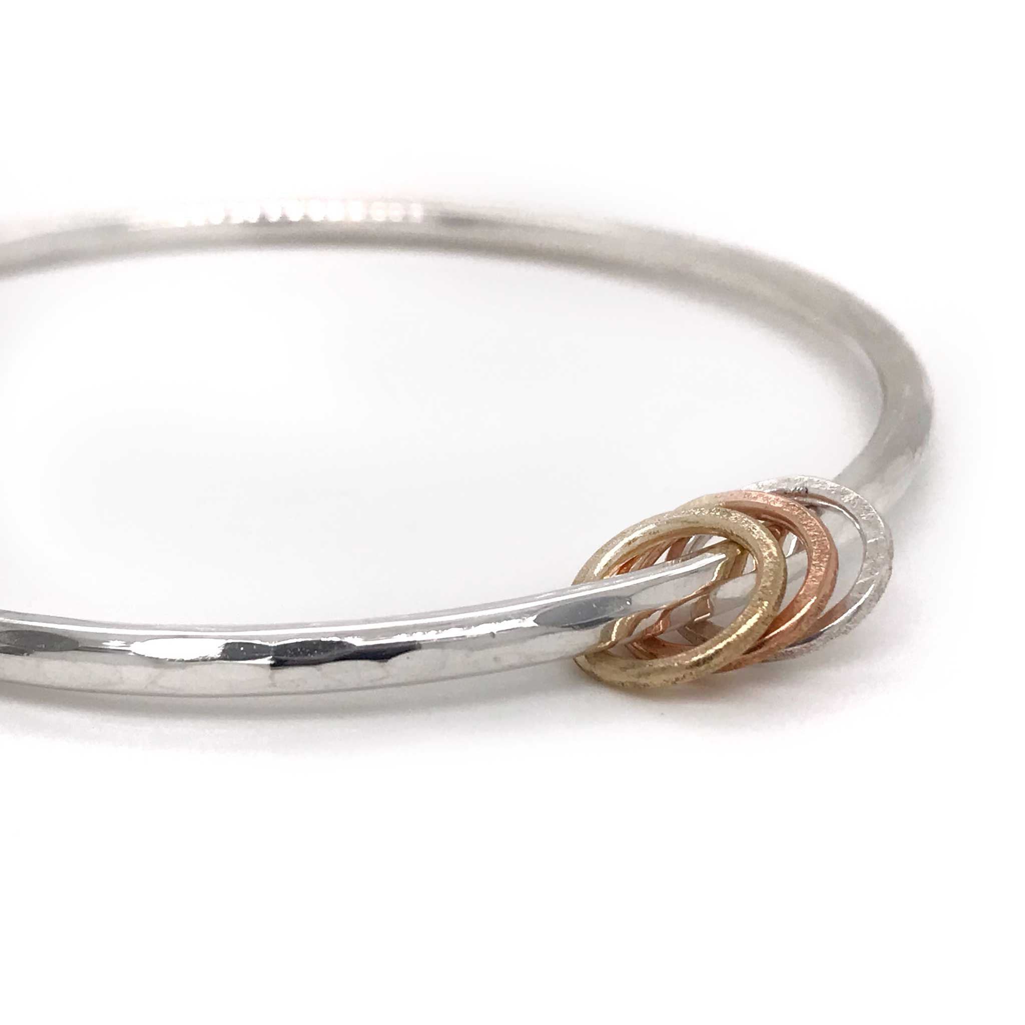chunky silver bangle with small metal rings kriket broadhurst jewellery Australian made