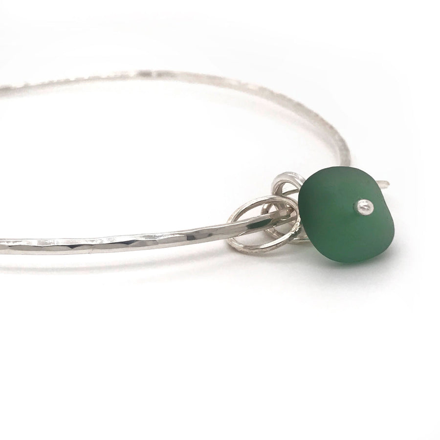 green seaglass on silver bangle Kriket broadhurst jewelry