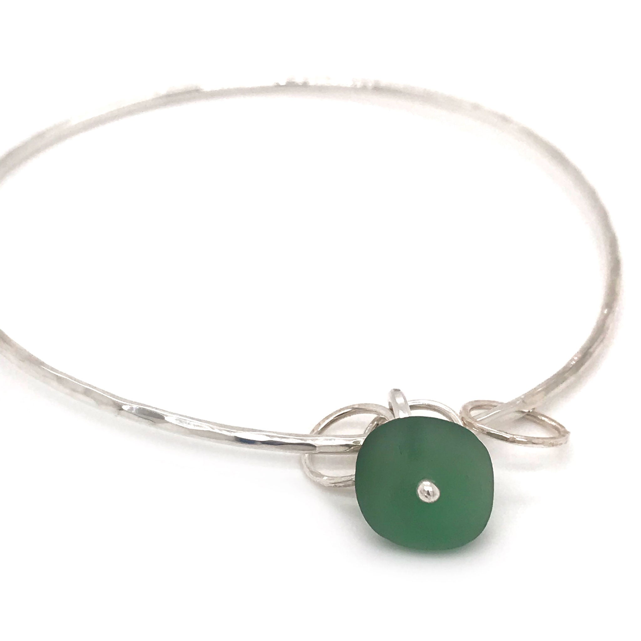 sterling silver bangle with green seaglass Kriket broadhurst jewellery Australian made