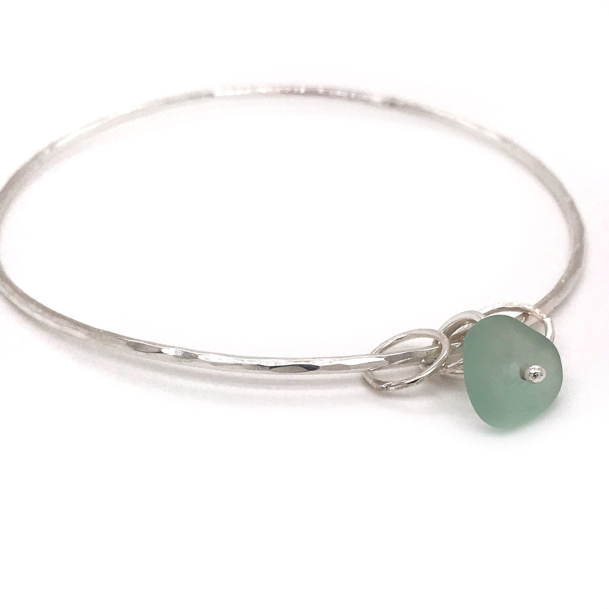 seafoam seaglass bangle sterling silver kriket broadhurst jewellery