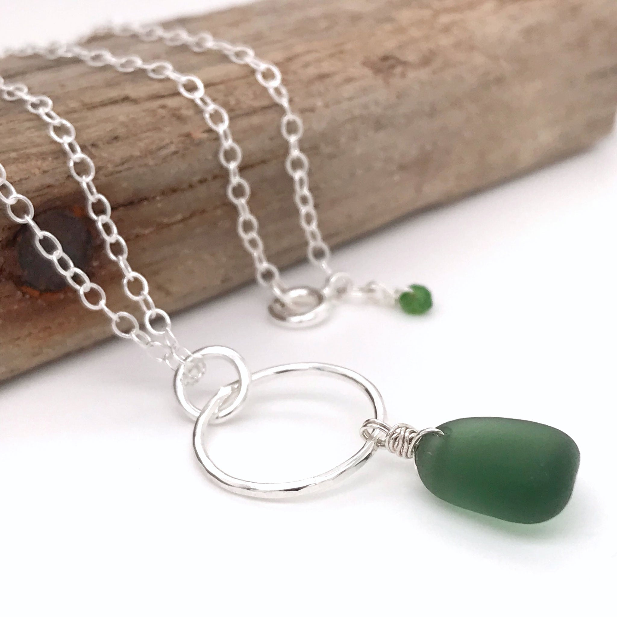 green seaglass necklace sterling silver circle design kriket broadhurst jewellery