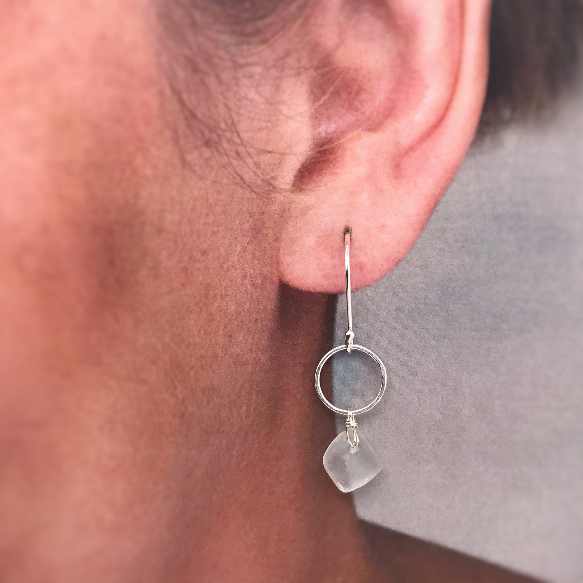 kriket broadhurst jewellery sterling silver open circle earrings with clear seaglass