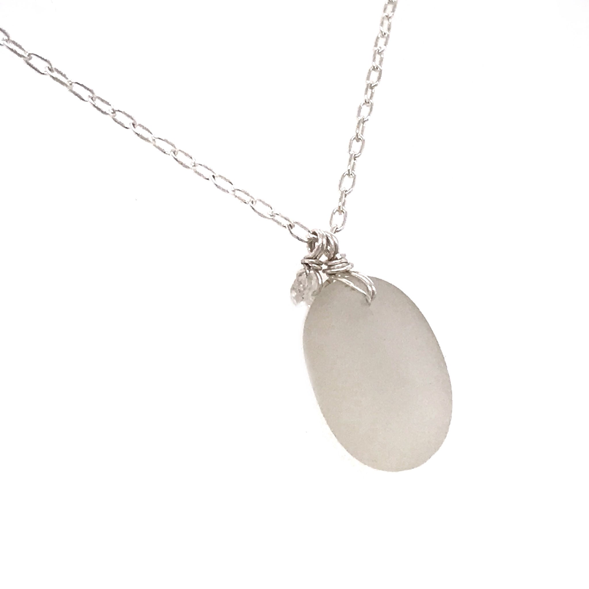 sterling silver necklace with clear seaglass and aquamarines Kriket Broadhurst jewellery