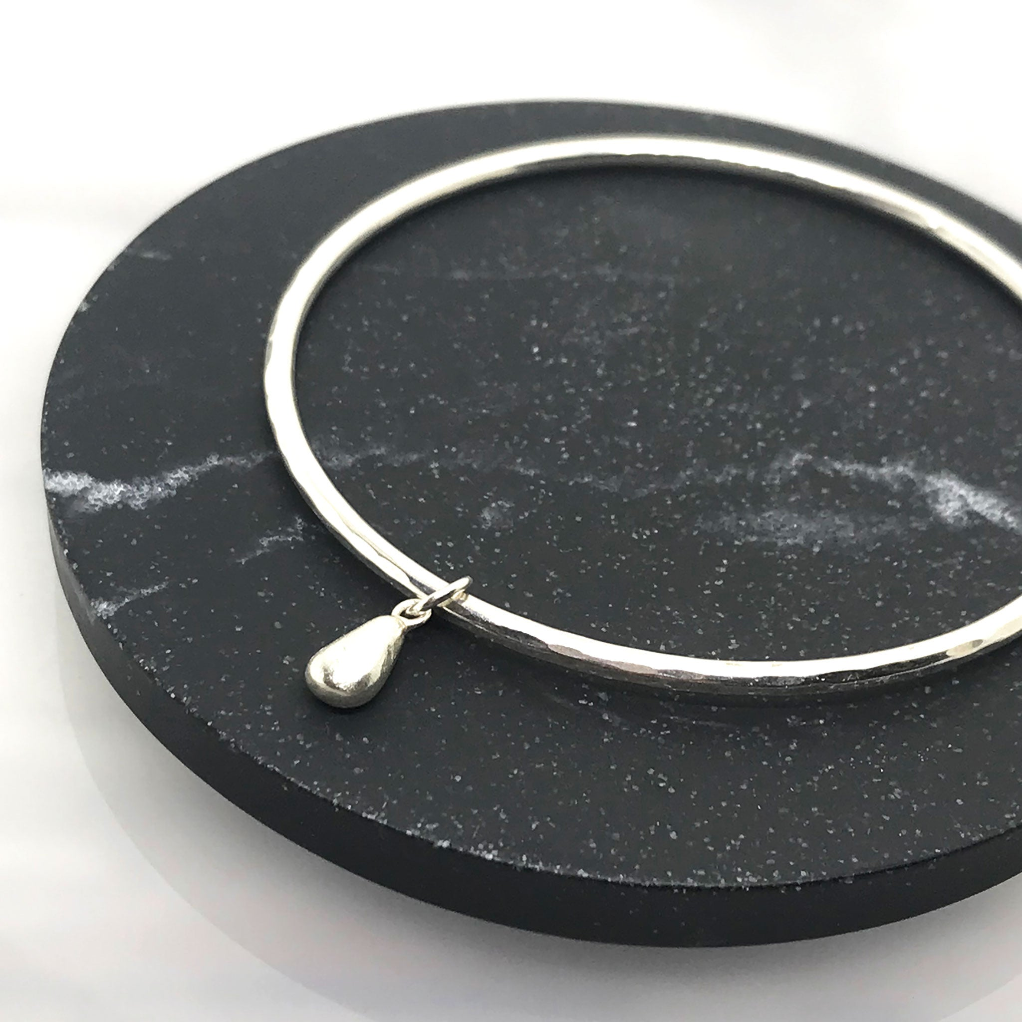 Silver Bangle with teardrop Charm - kriket broadhurst jewellery made in Sydney