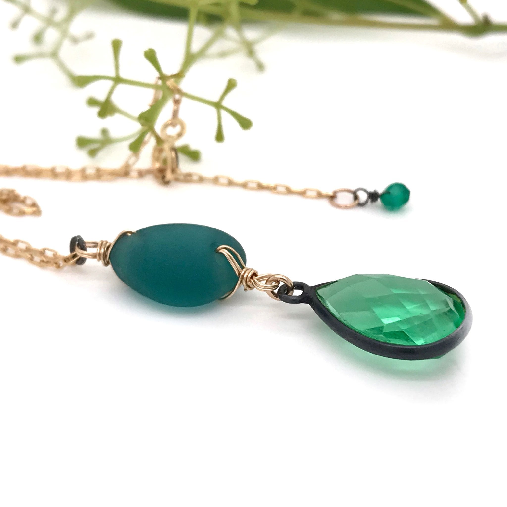 green necklace with teal seaglass and green quartz kriket Broadhurst jewellery