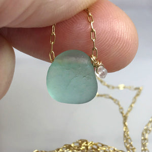 kriket broadhurst jewellery aqua seaglass necklace with aquamarine stone on gold chain