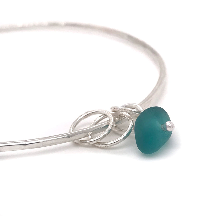 teal seaglass bangle sterling silver with three silver rings Kriket Broadhurst jewellery gift for wife