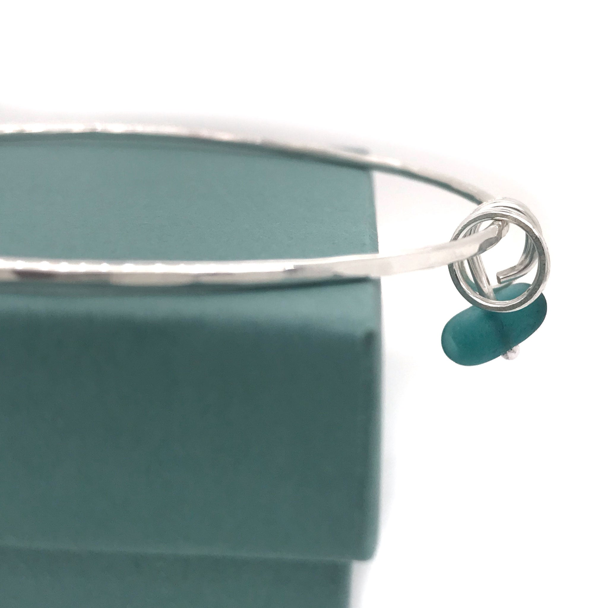 teal seaglass bangle sterling silver with three silver rings Kriket Broadhurst jewellery gift for best friend