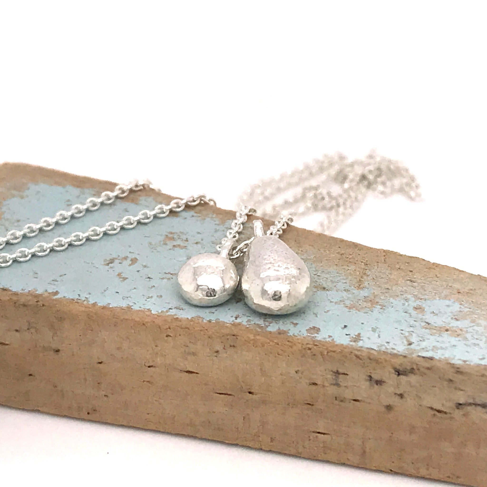 sterling silver necklace with two solid silver seaglass charms kriket broadhurst jewellery