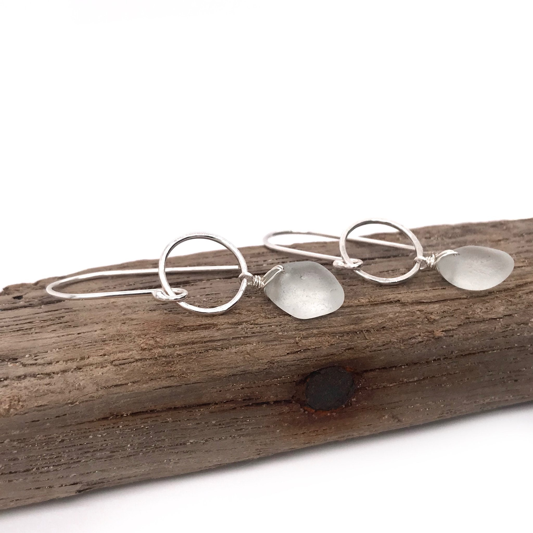 clear white seaglass on sterling silver earrings open circles kriket broadhurst jewellery