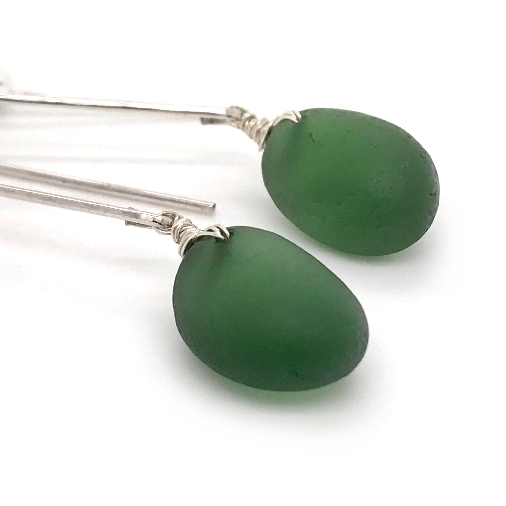 green earrings sea glass on sterling silver long drop design kriket broadhurst jewellery
