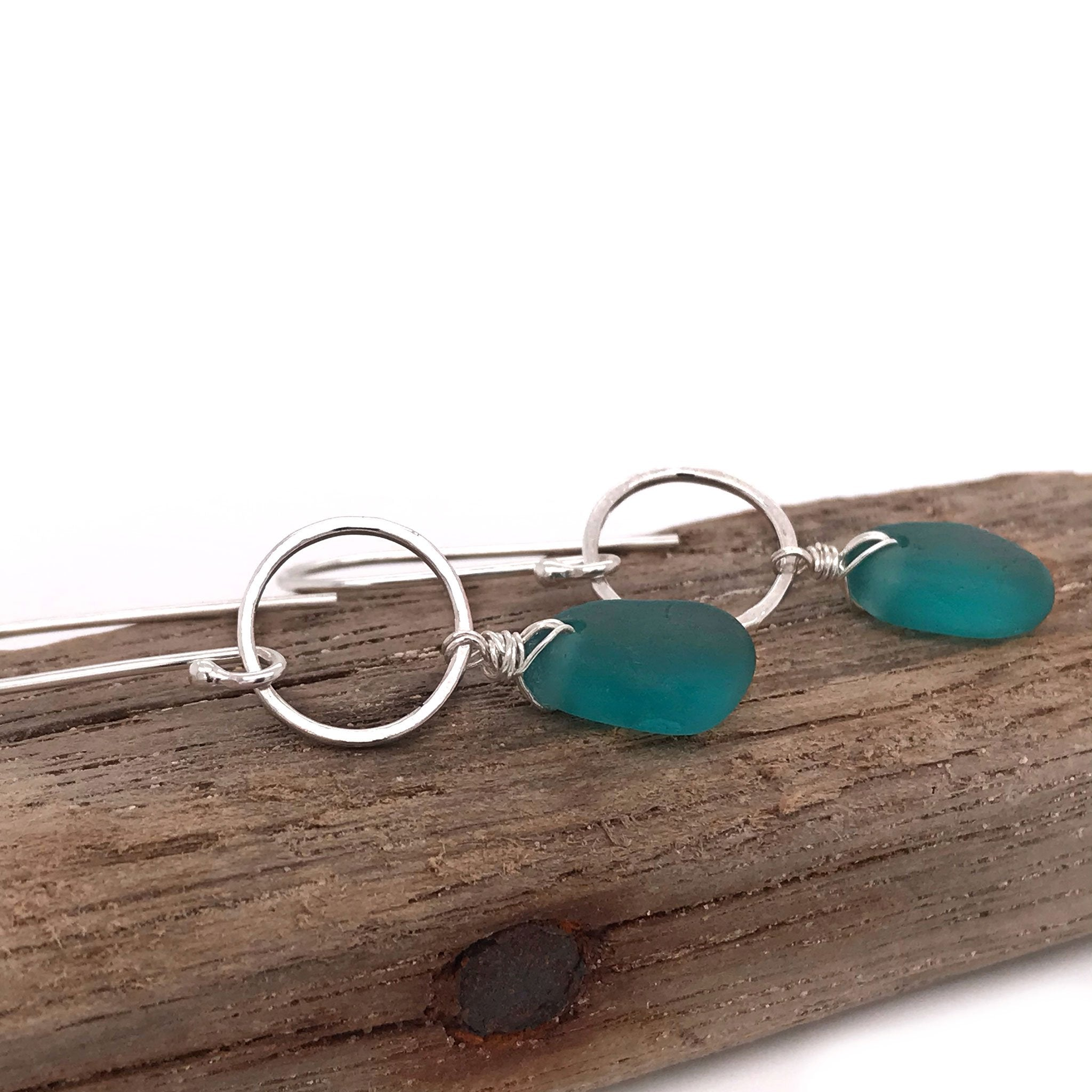 teal seaglass earrings sterling silver circle design Kriket Broadhurst jewellery