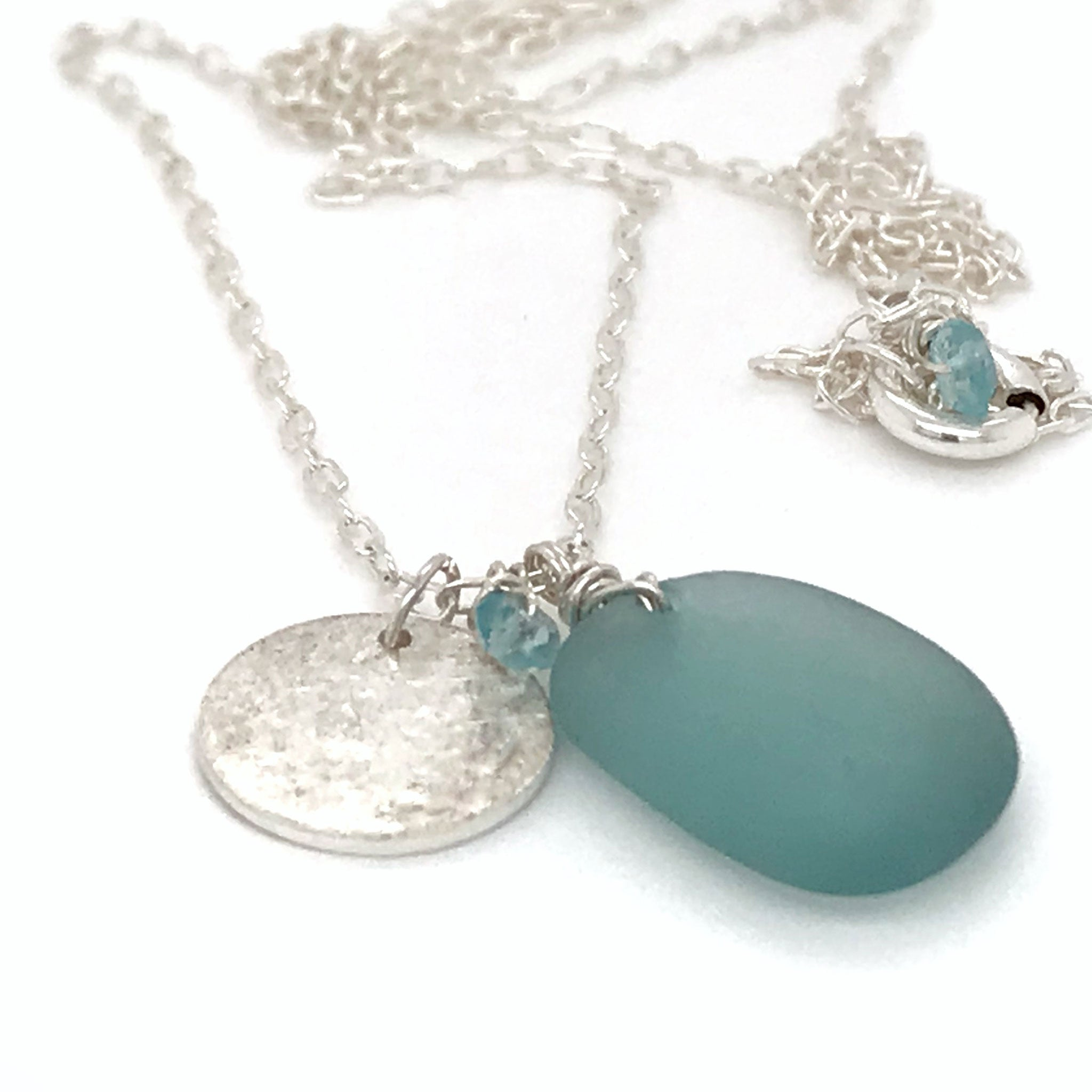 aqua seaglass necklace with sterling silver disc charm kriket Broadhurst jewellery