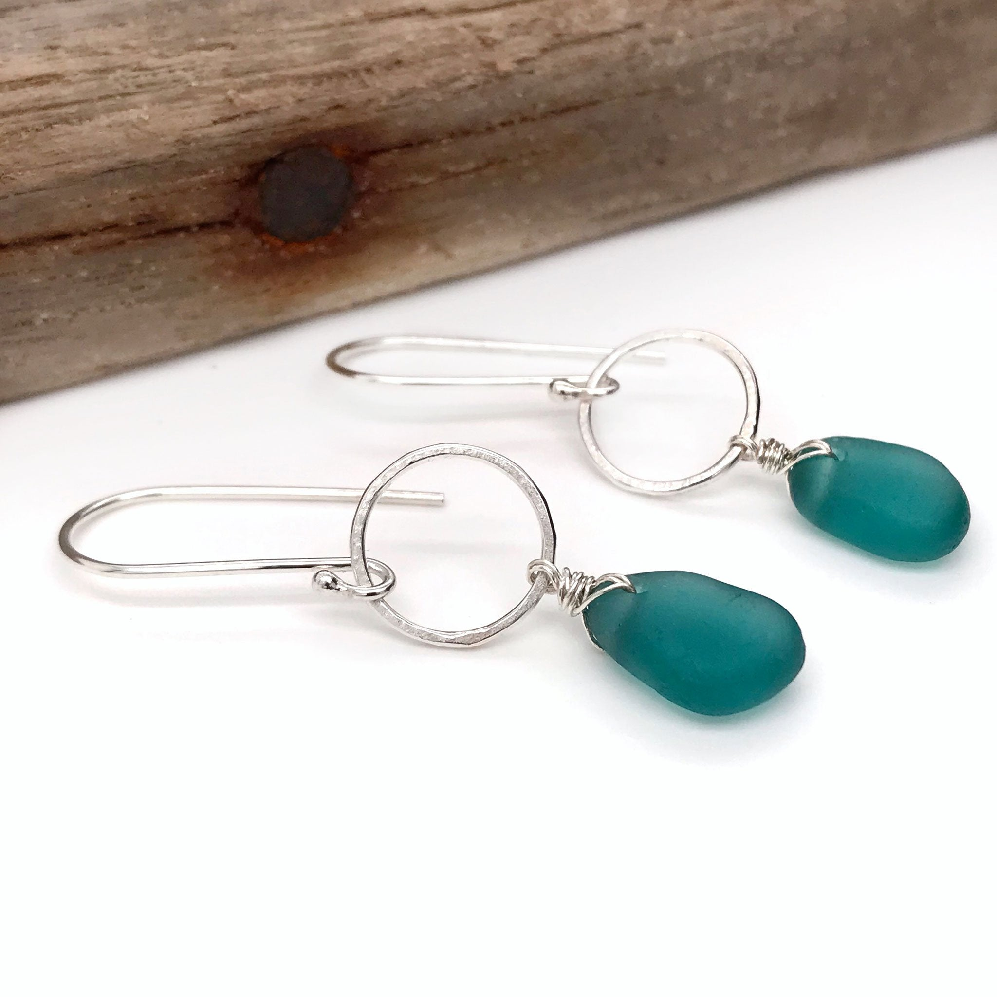 teal earrings sterling silver circle drop design Kriket Broadhurst jewellery