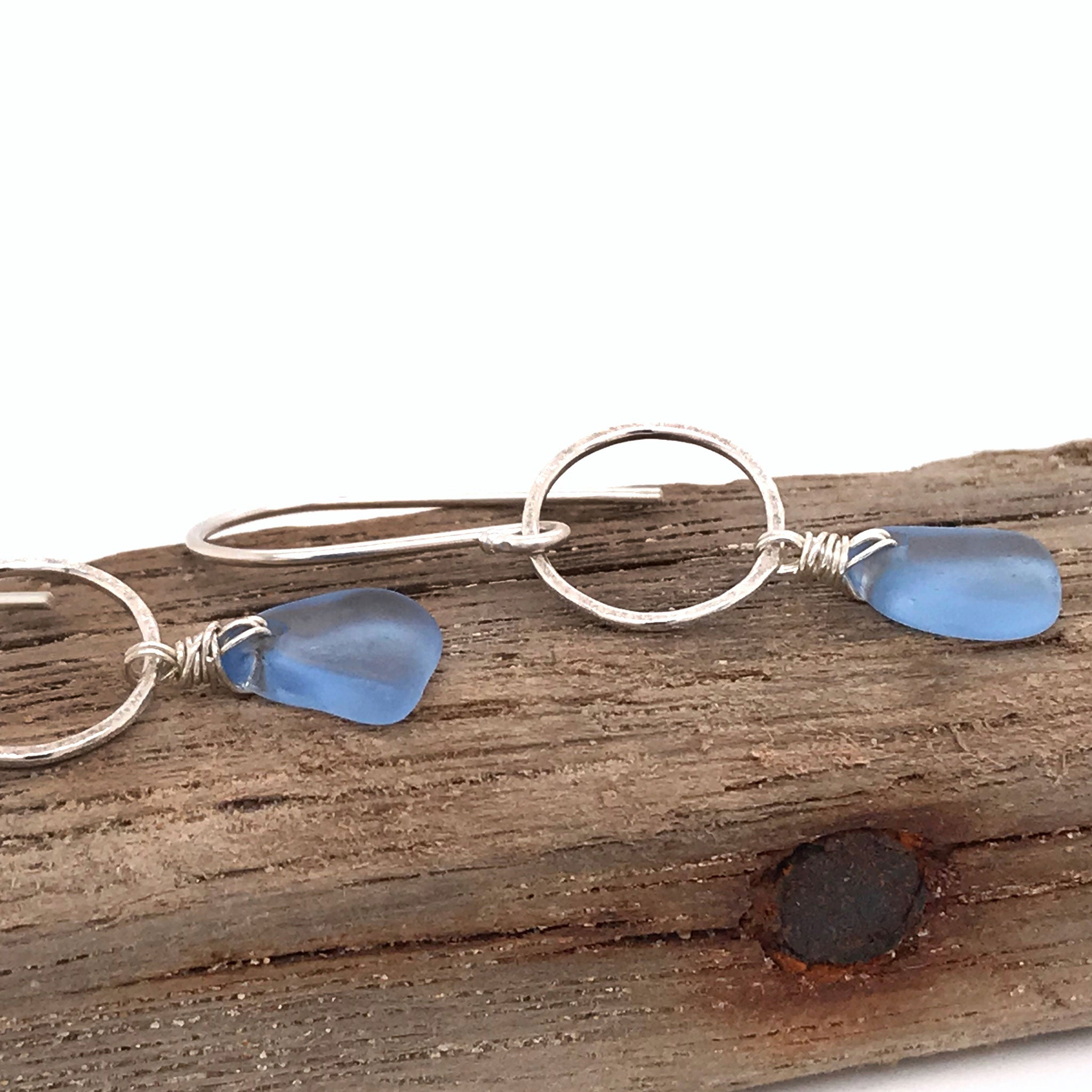 cornflower blue earrings sterling silver and seaglass Kriket broadhurst jewellery