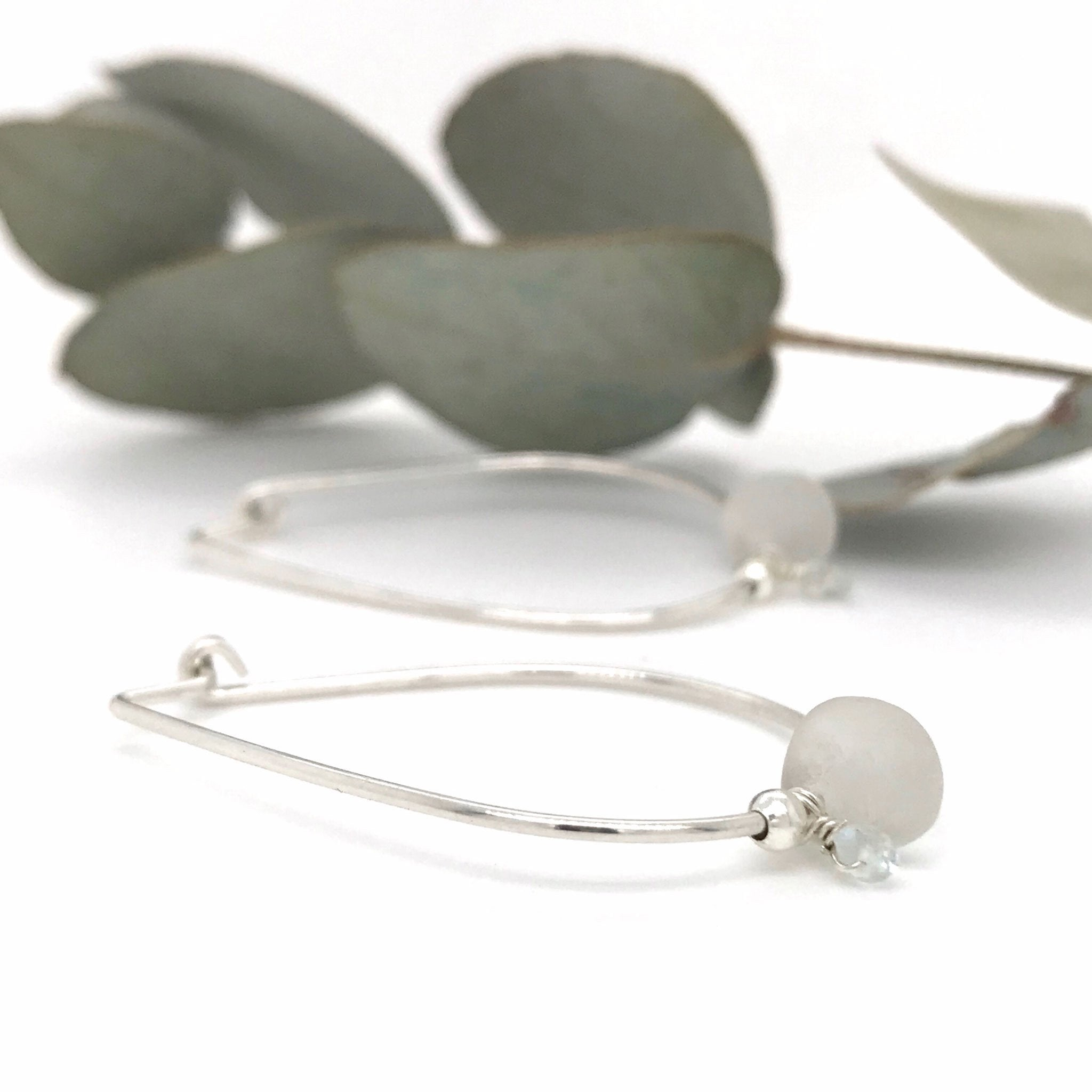 clear seaglass hoop earrings with aquamarines sterling silver kriket broadhurst jewellery