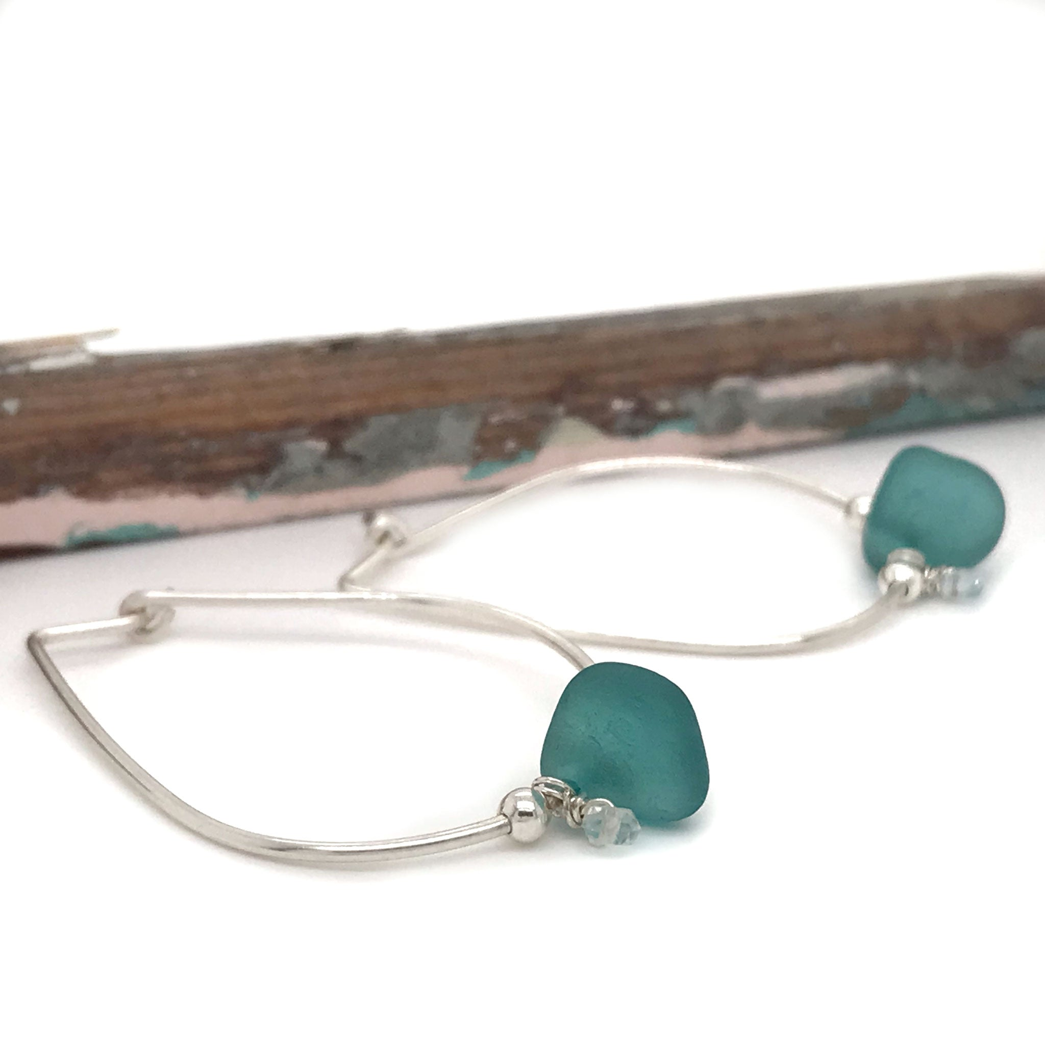 teal seaglass on sterling silver hoop earrings with aquamarines Kriket Broadhurst jewellery made in Sydney