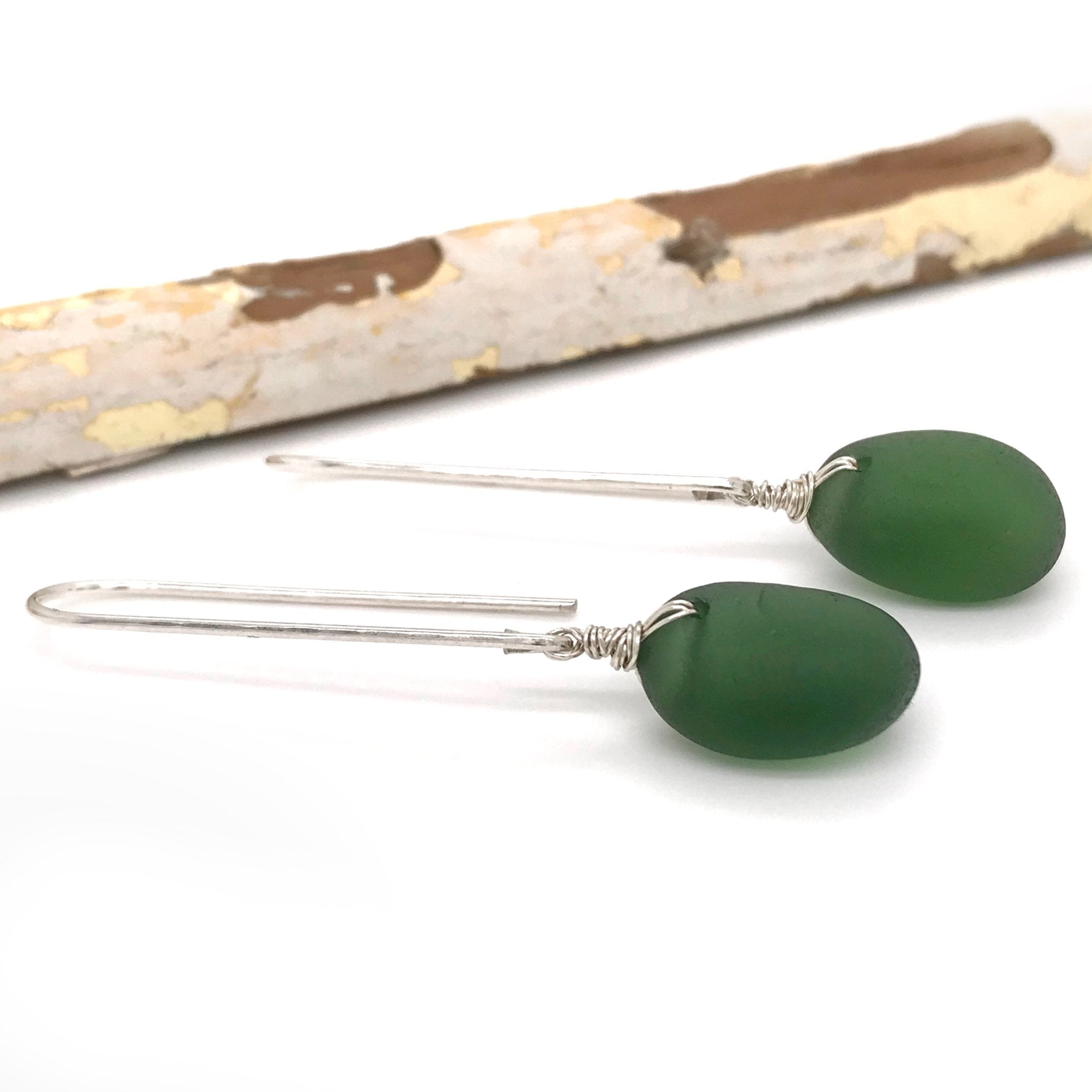 silver drop earrings with green beach glass kriket broadhurst jewellery