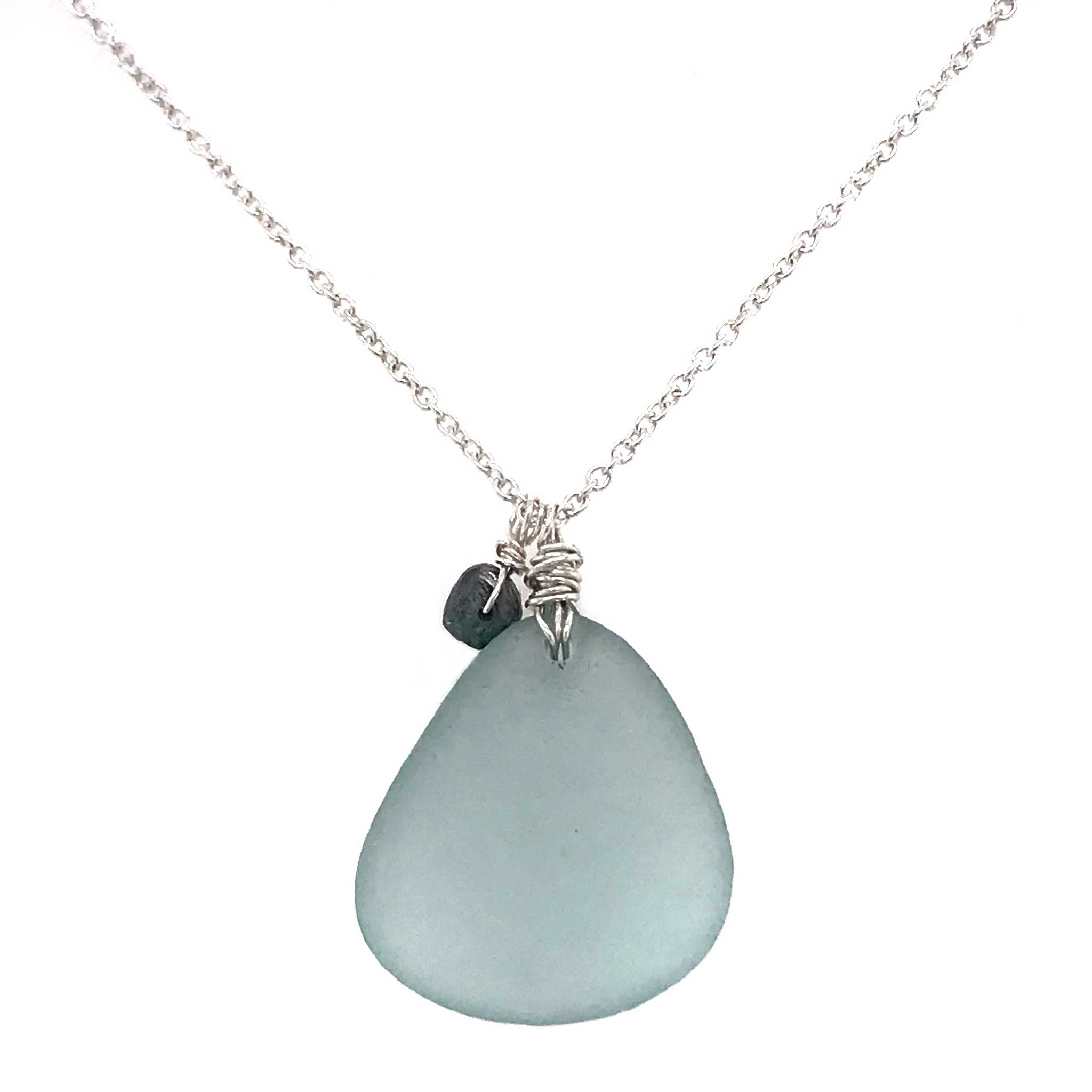 unusual gifts for women grey blue seaglass necklace kriket broadhurst jewellery Sydney