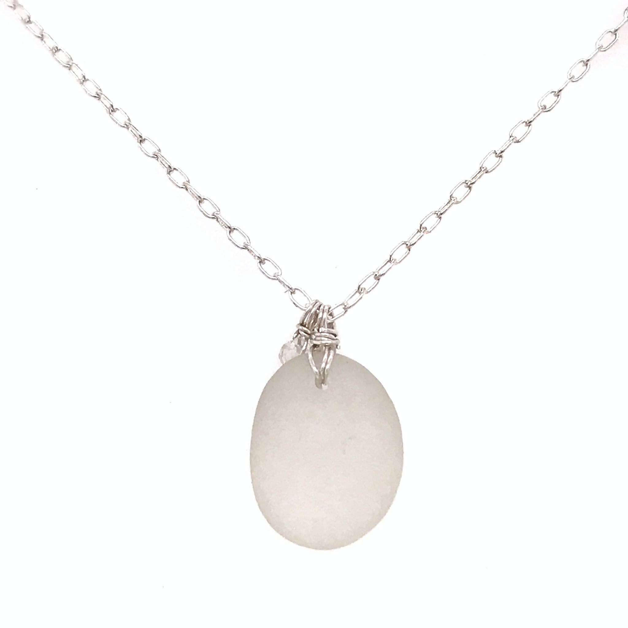 clear seaglass necklace sterling silver with aquamarines kriket Broadhurst jewellery
